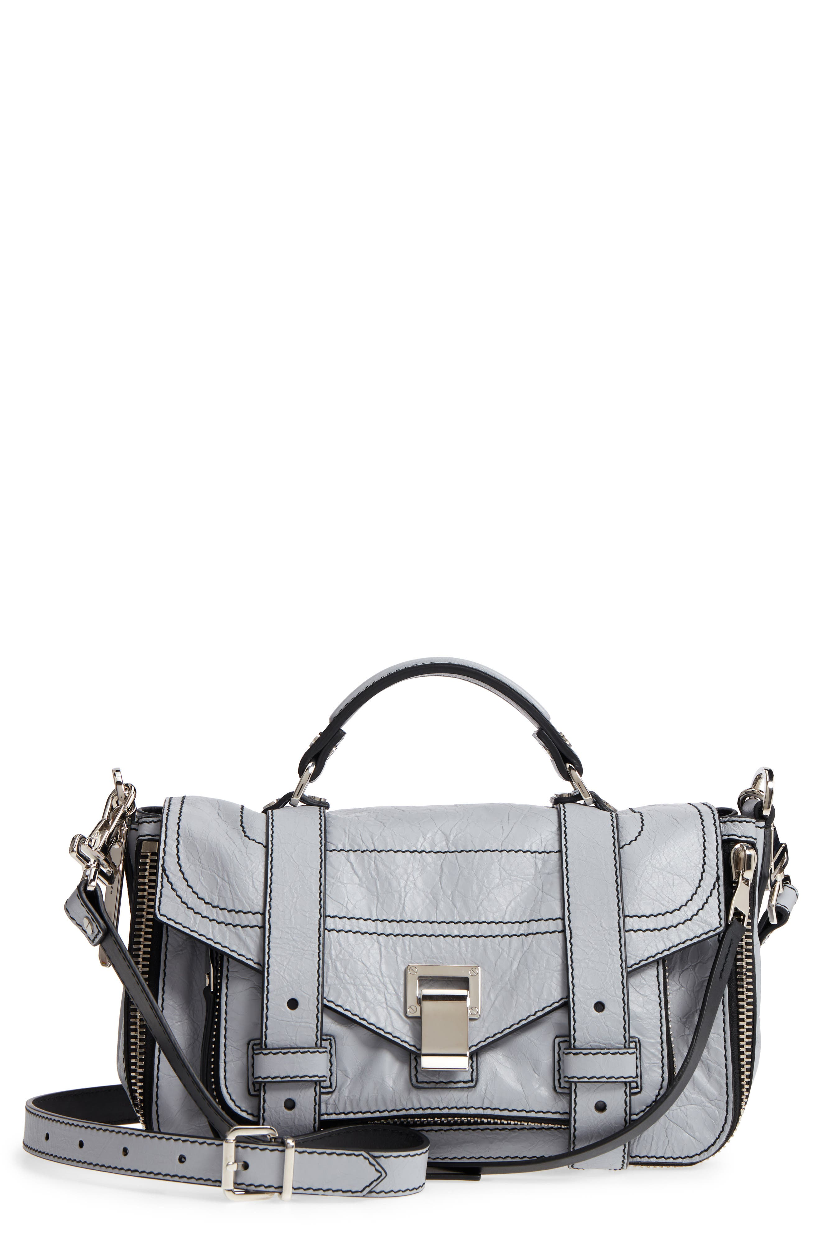 Medium PS1 Paper Leather Satchel,                         Main,                         color, Dove Grey