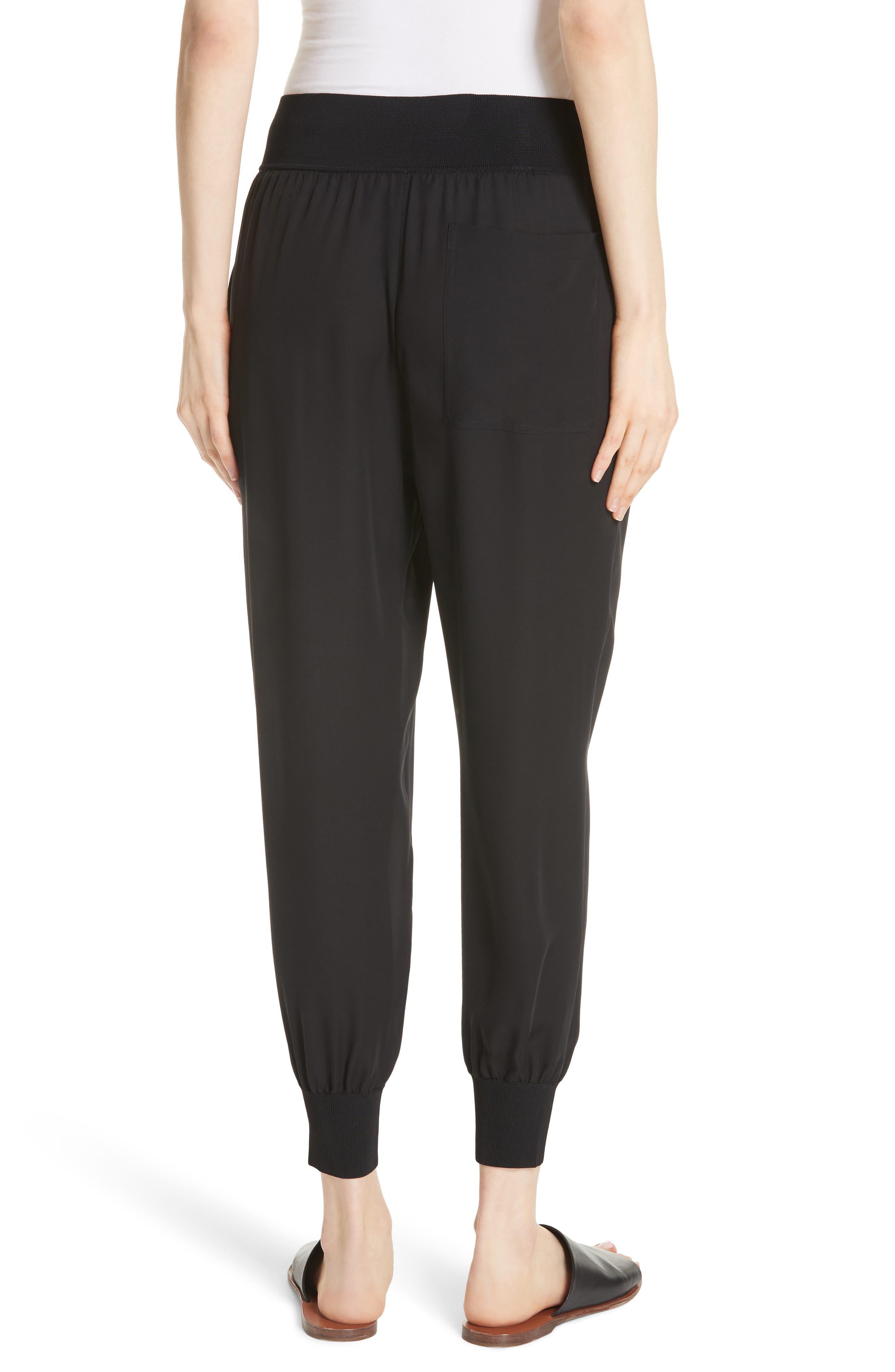 Silk Jogger Pants,                             Alternate thumbnail 2, color,                             Black