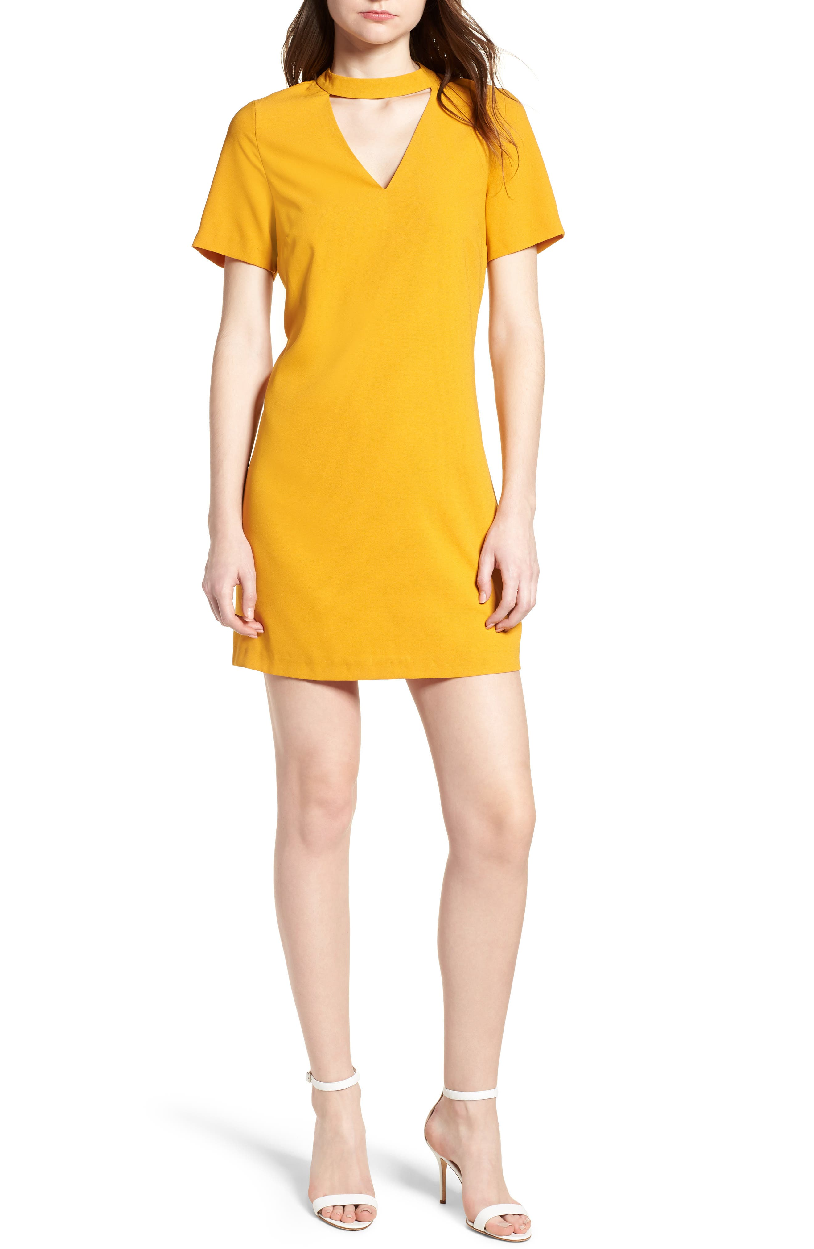 Bishop + Young Sasha Shift Dress,                             Main thumbnail 1, color,                             Mustard