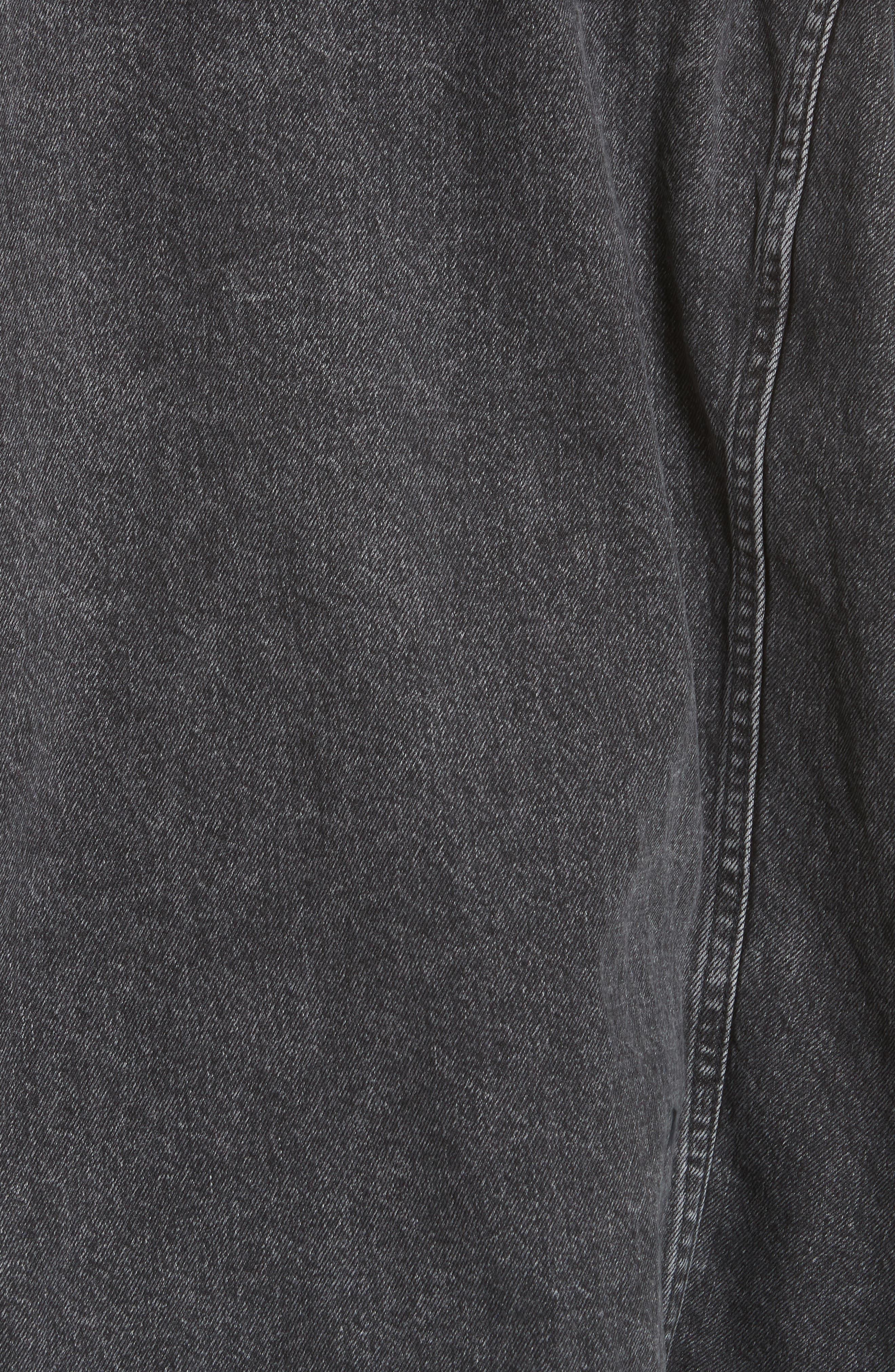 Oversized Removable Hood Denim Jacket,                             Alternate thumbnail 6, color,                             Black