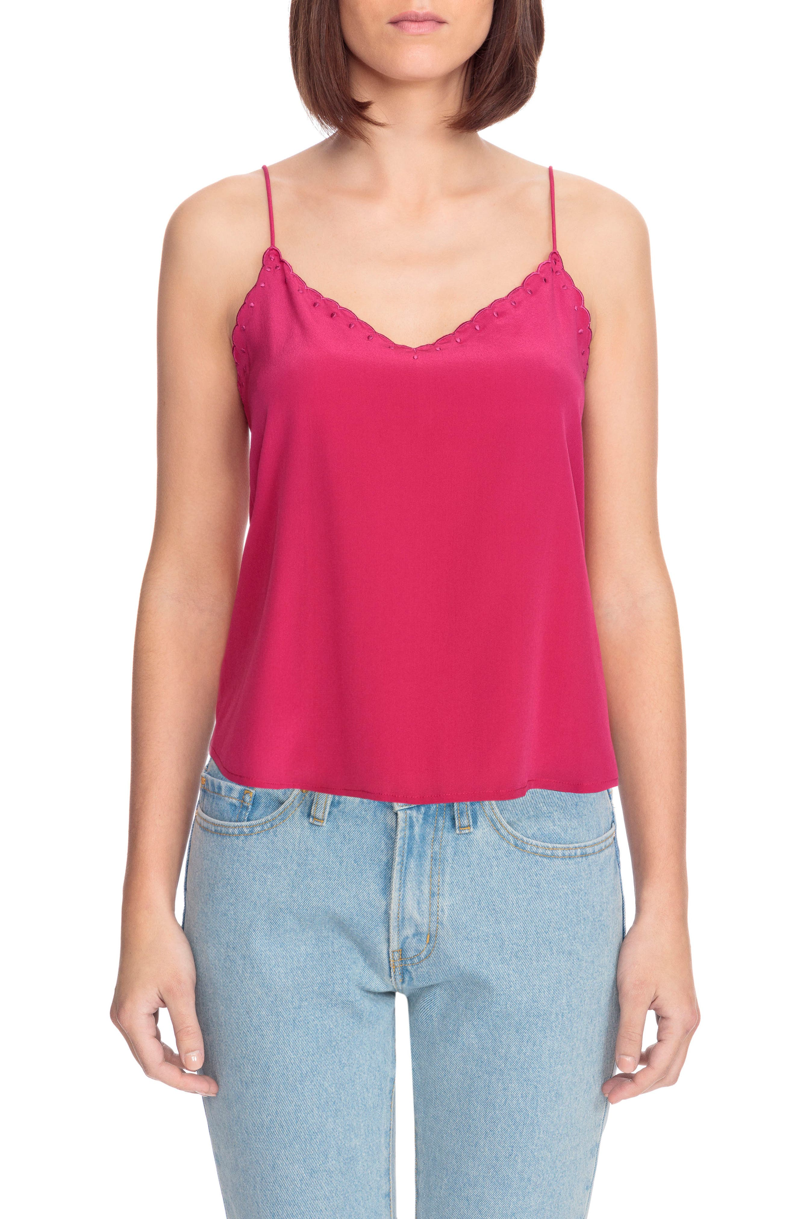 Athenee Scalloped Silk Camisole,                             Main thumbnail 1, color,                             Bright Pink
