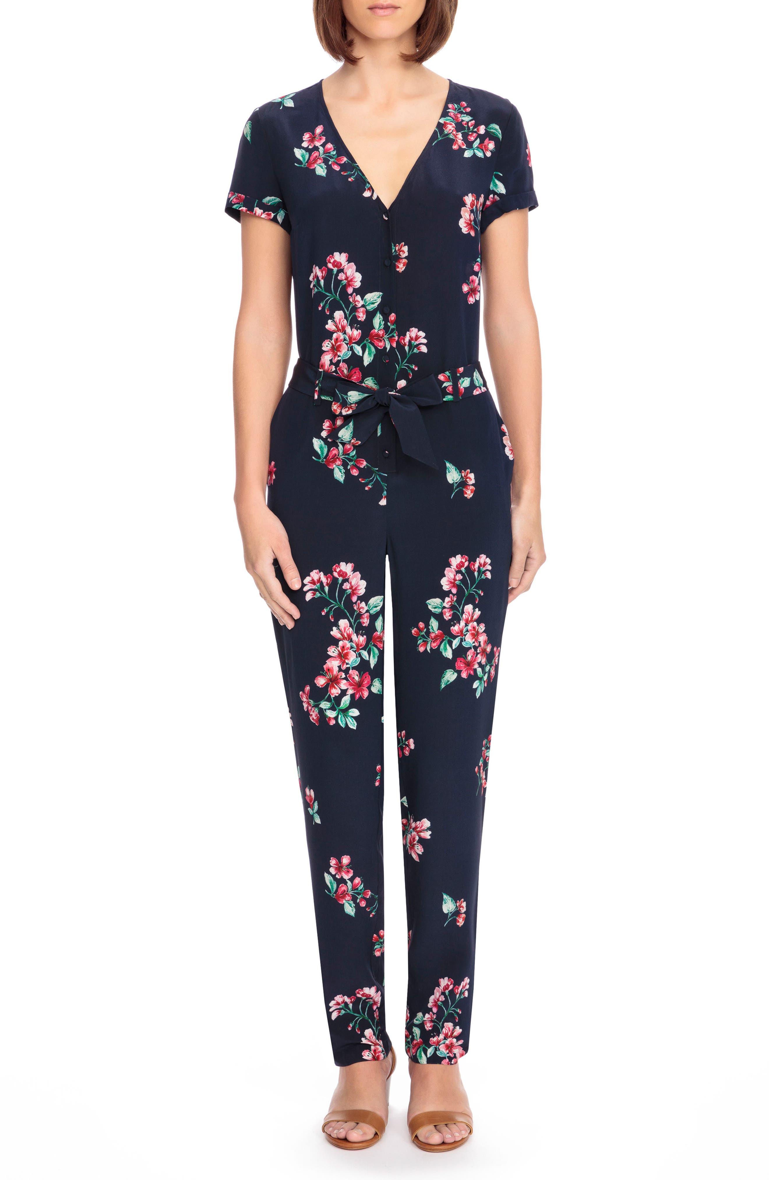 Sézane Ava Floral Silk Jumpsuit
