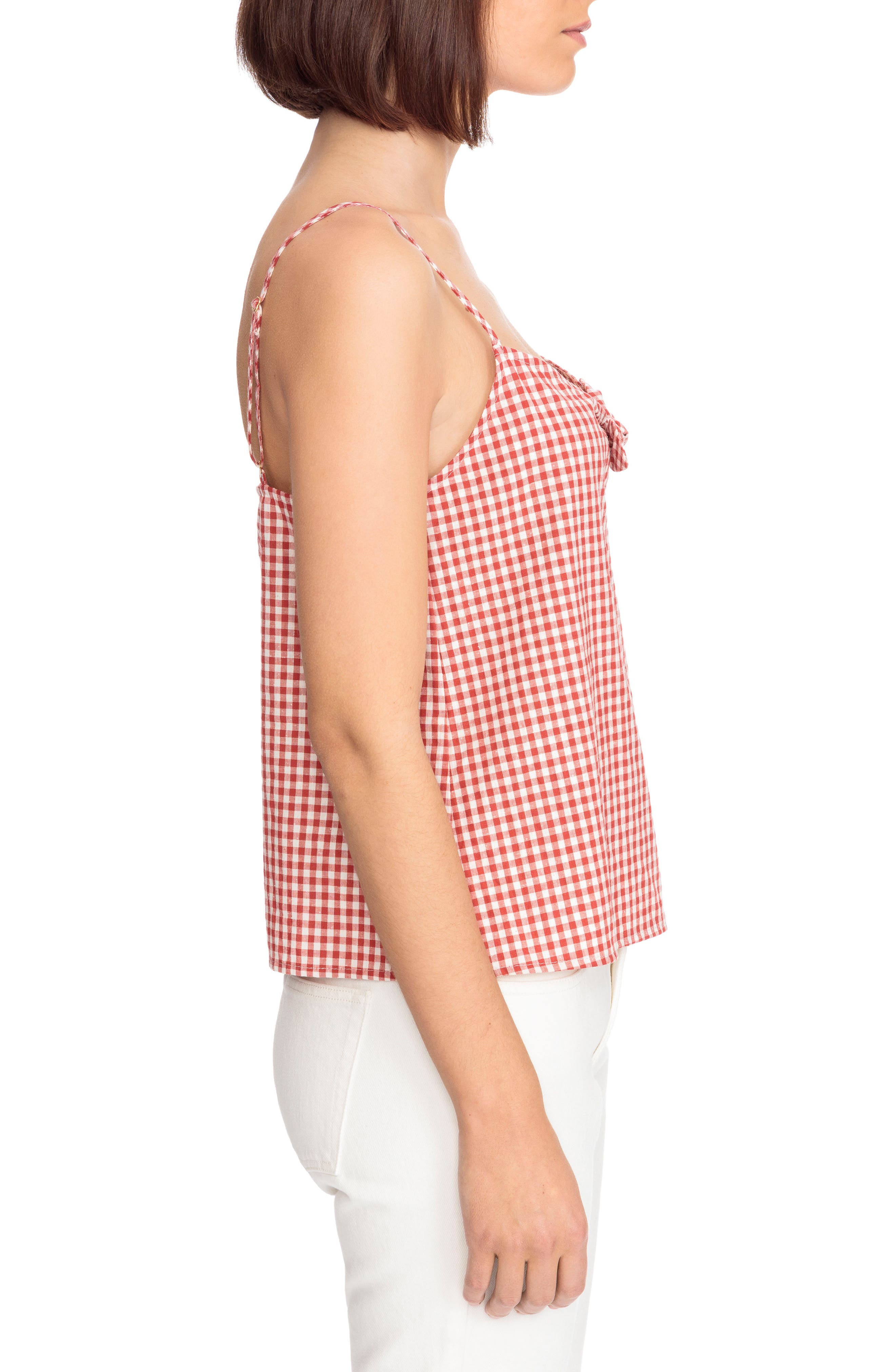 Suzie Gingham Top,                             Alternate thumbnail 4, color,                             Red Vichy