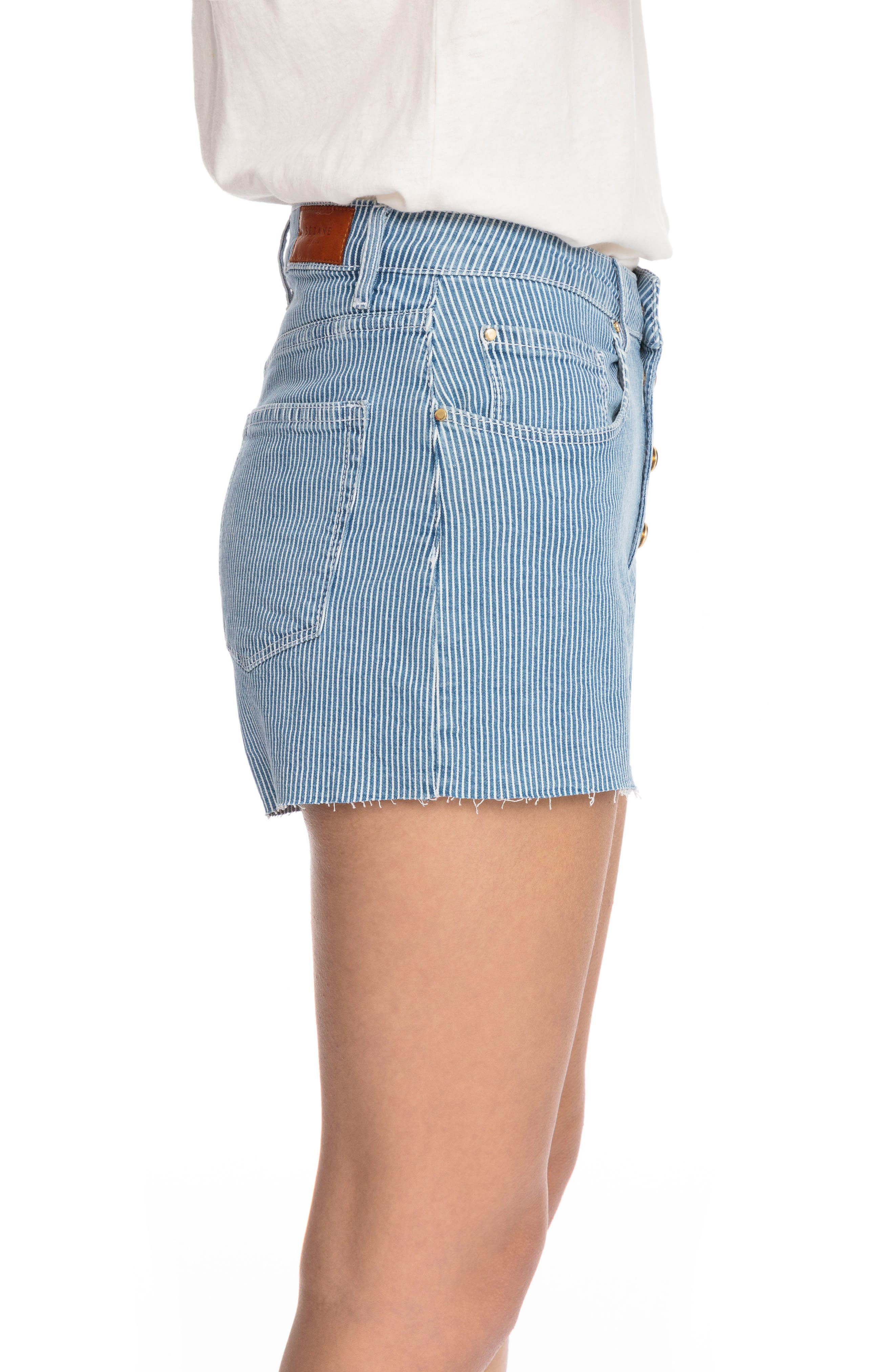 1968 Stripe Cutoff Denim Shorts,                             Alternate thumbnail 3, color,                             Off White And Blue Stripes