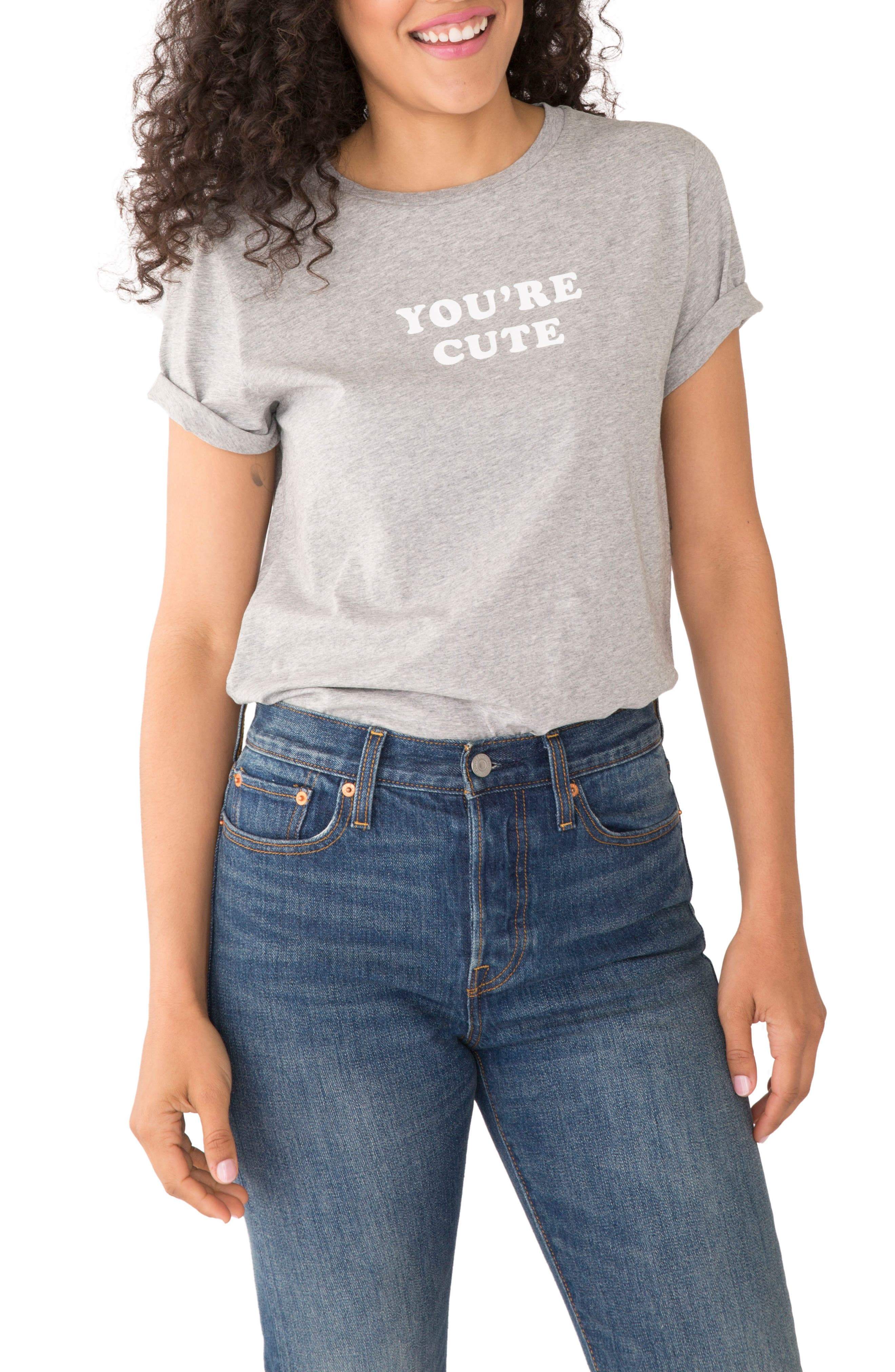 You're Cute Text Me Classic Tee,                         Main,                         color, Heather Grey