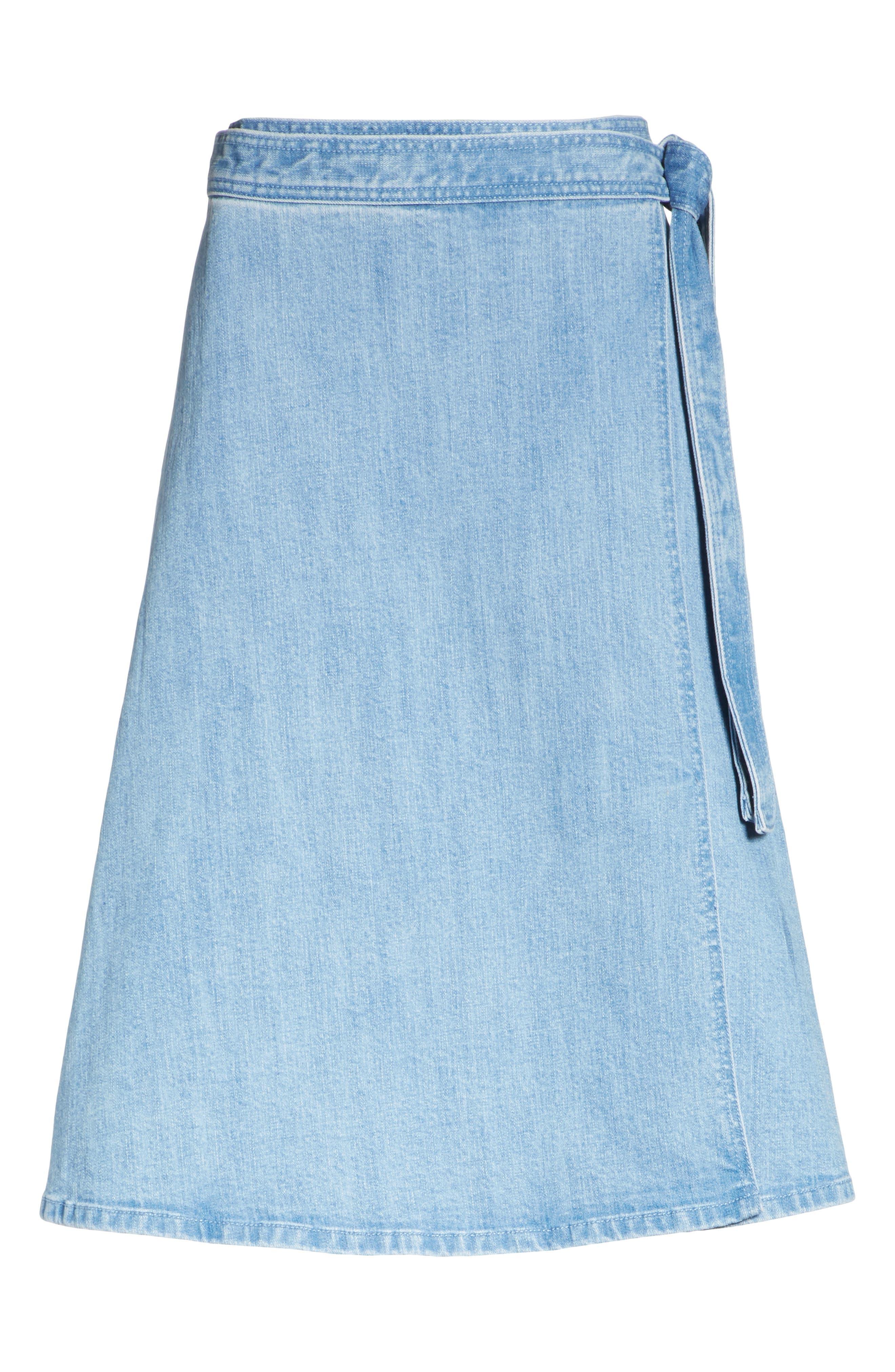 vintage stretch denim wrap skirt,                             Alternate thumbnail 6, color,                             Indigo
