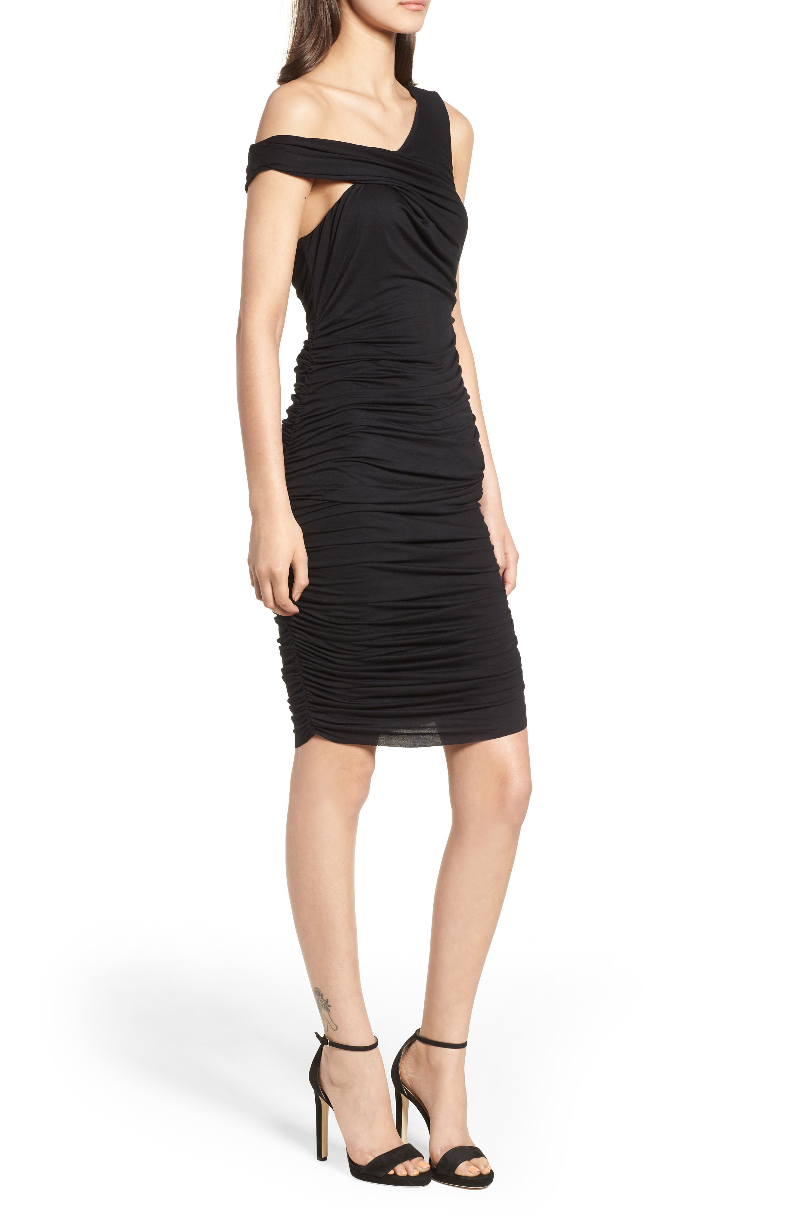 Ruched Sheath Dress,                             Alternate thumbnail 3, color,                             Black Multi