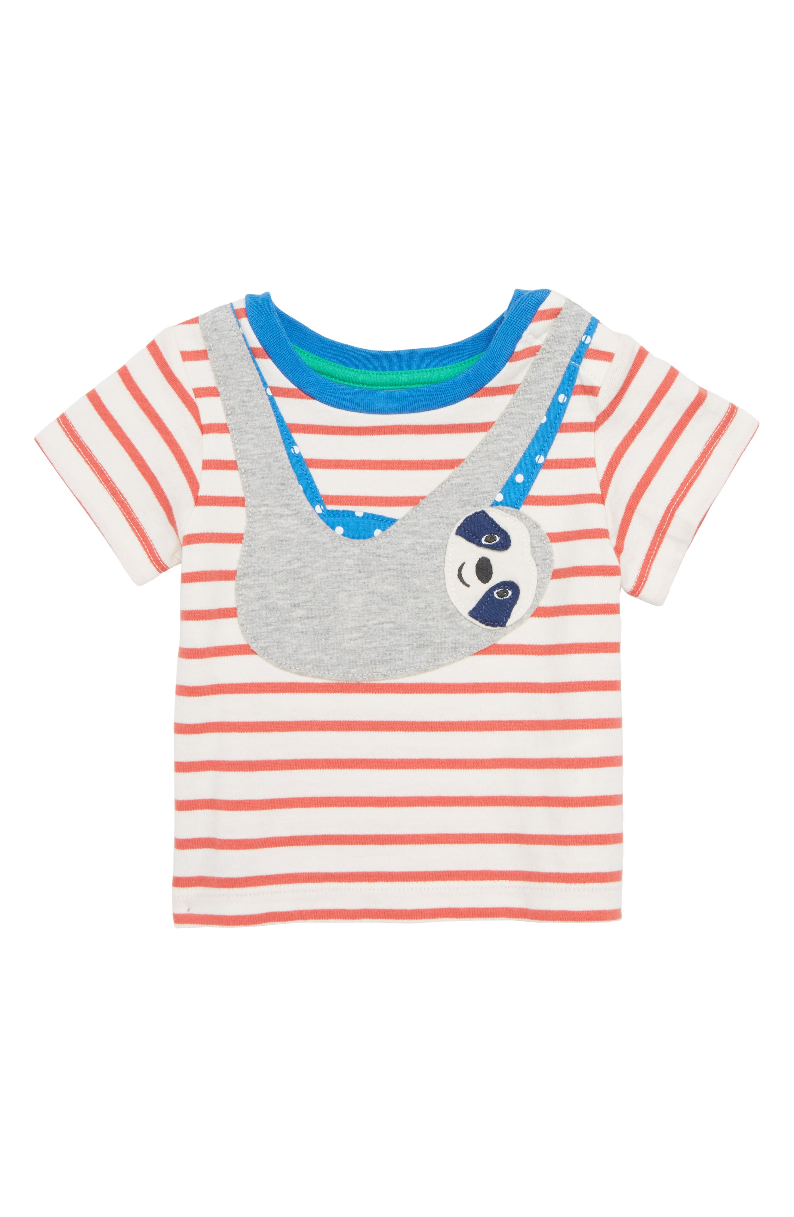 Sloth Appliqué T-Shirt,                         Main,                         color, Crayon Red