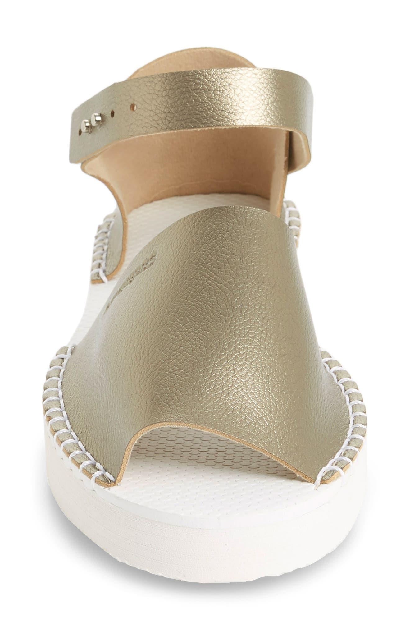 Flatform Fashion Sandal,                             Alternate thumbnail 4, color,                             Golden