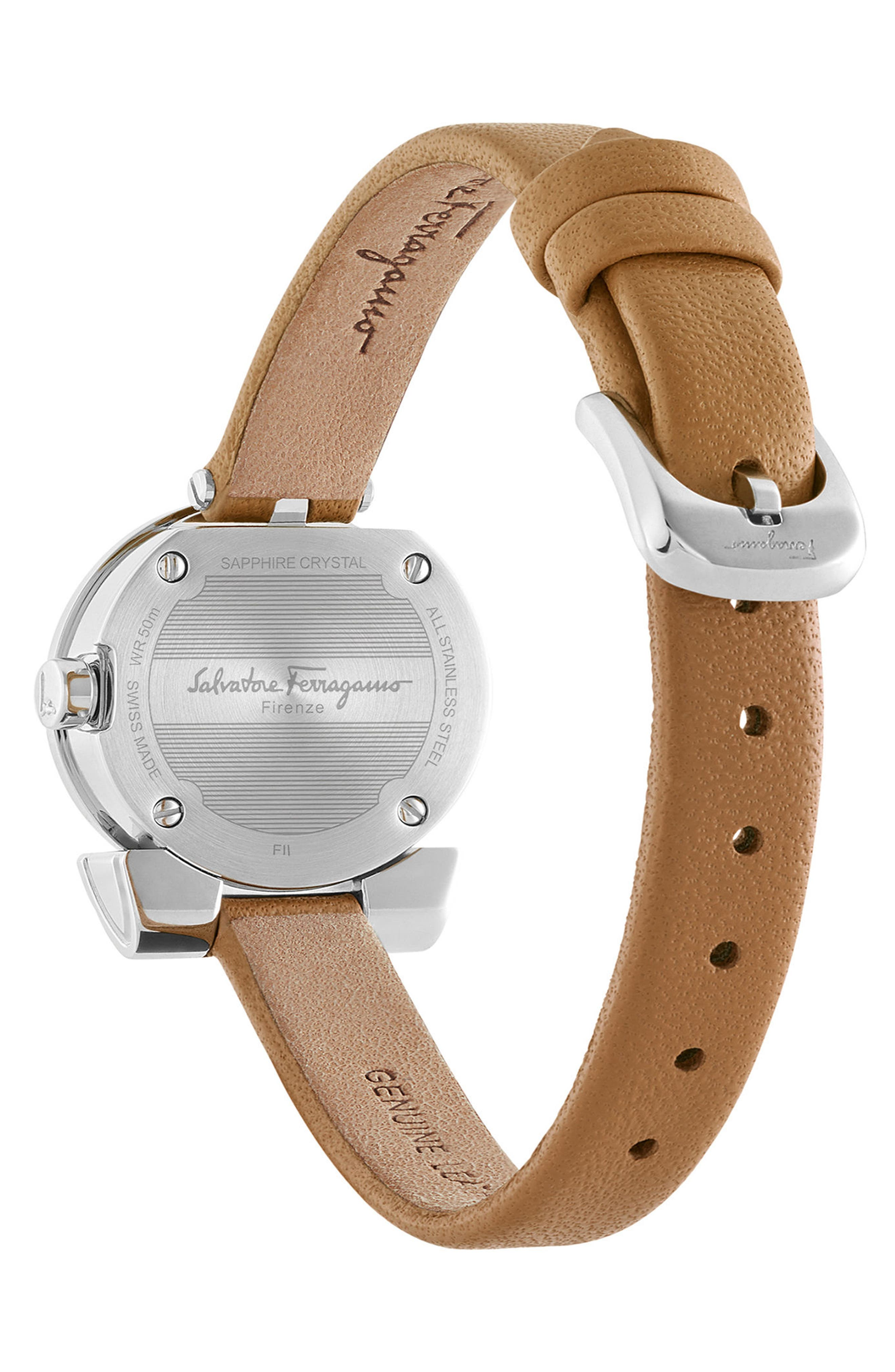 Gancino Leather Bracelet Watch, 22mm,                             Alternate thumbnail 2, color,                             Brown/ Silver