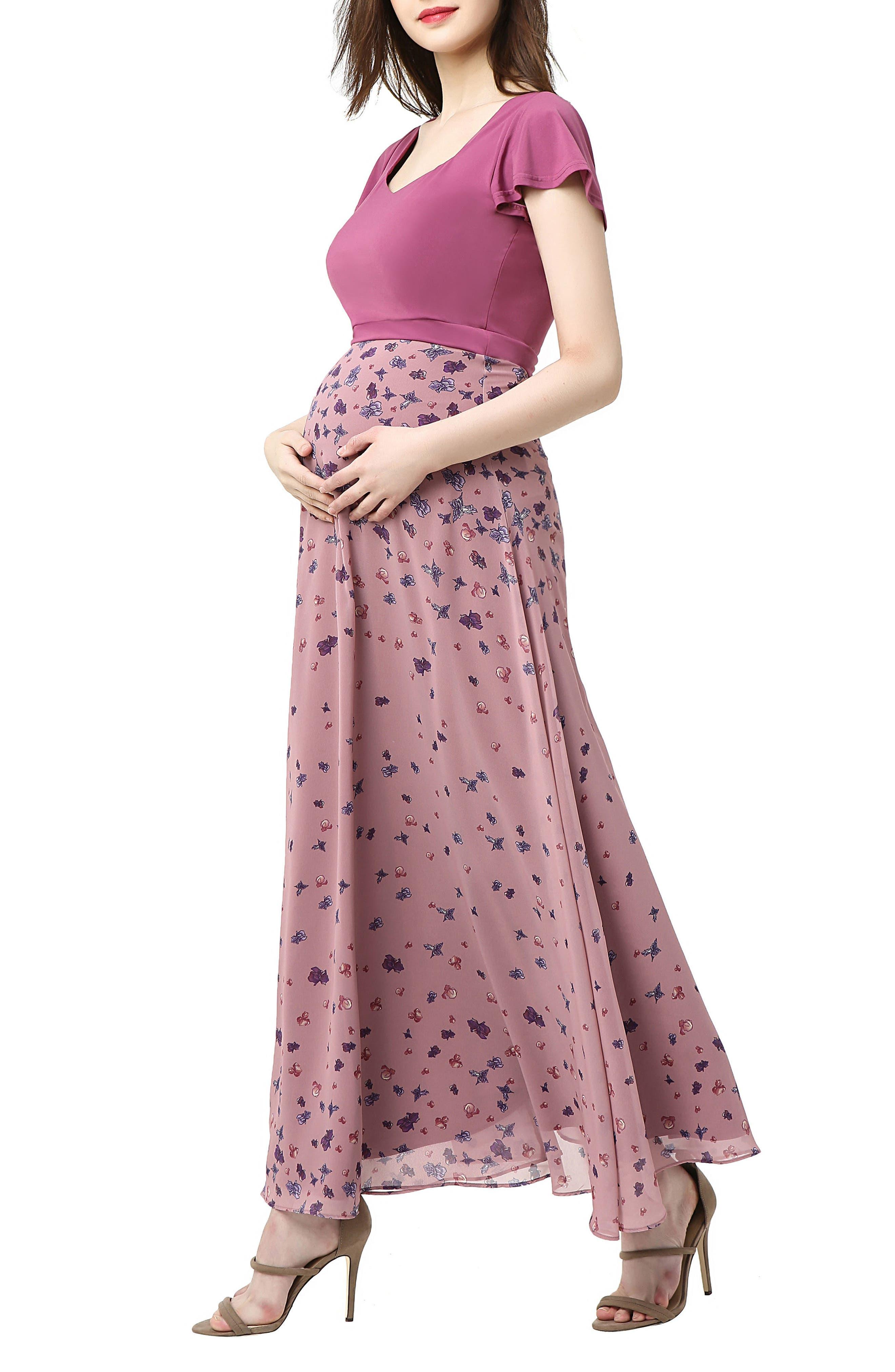 Emma Flutter Sleeve Maternity Maxi Dress,                             Alternate thumbnail 3, color,                             Rose Pink