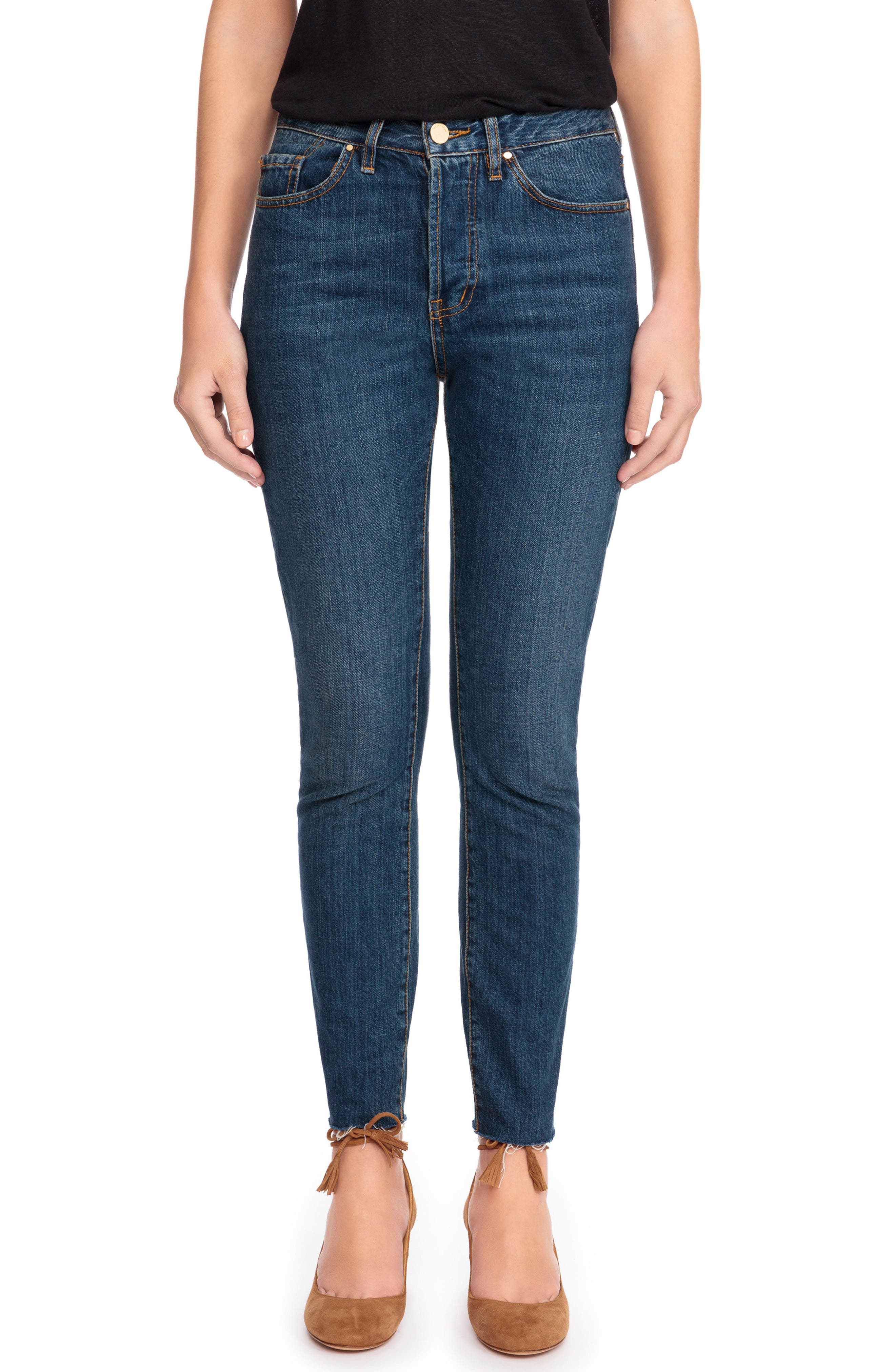 Sézane 1967 - The Brut Sexy Raw Hem High Waist Skinny Jeans