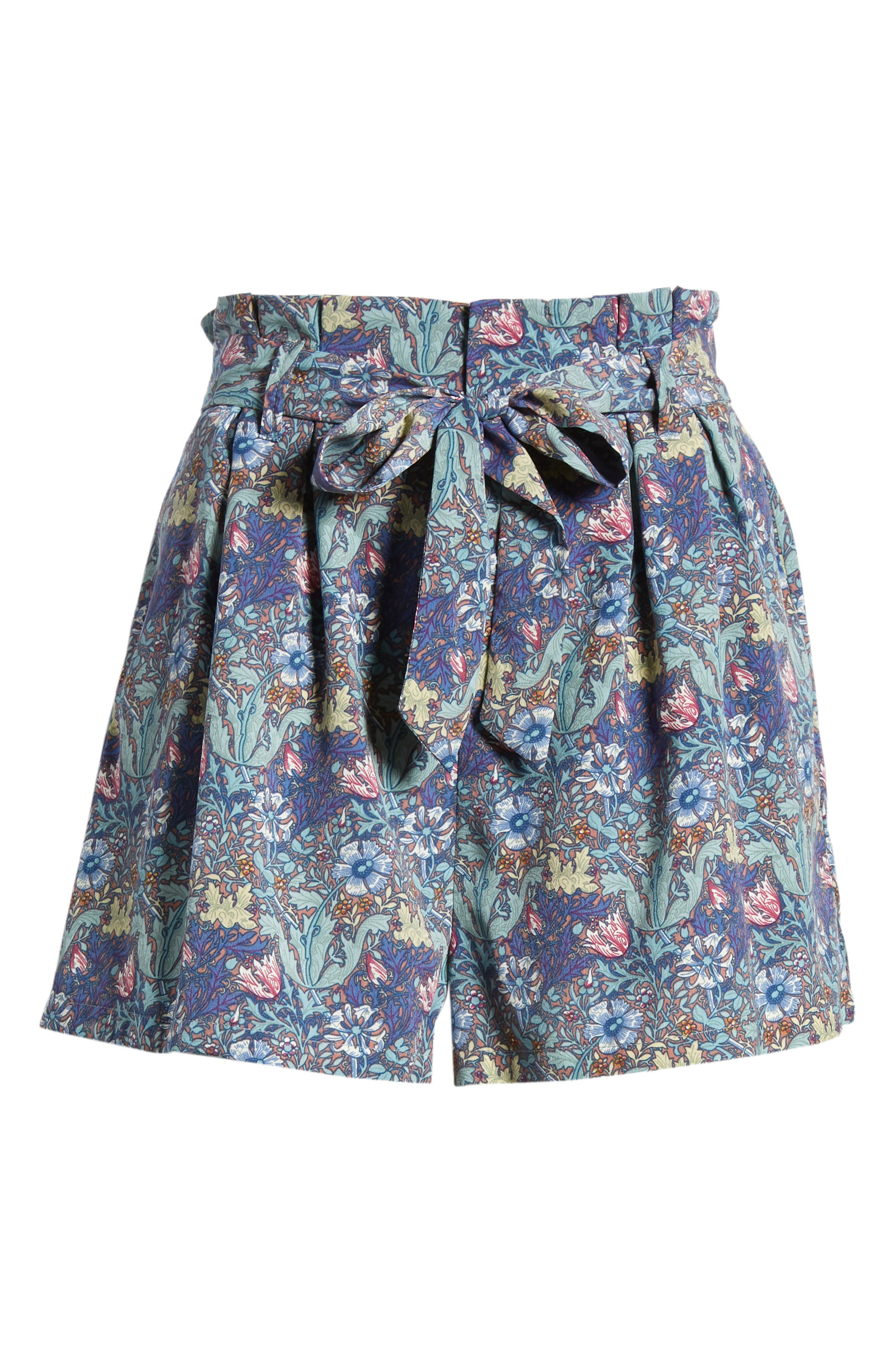 Bishop + Young Floral Paperbag Shorts,                             Alternate thumbnail 6, color,                             Print