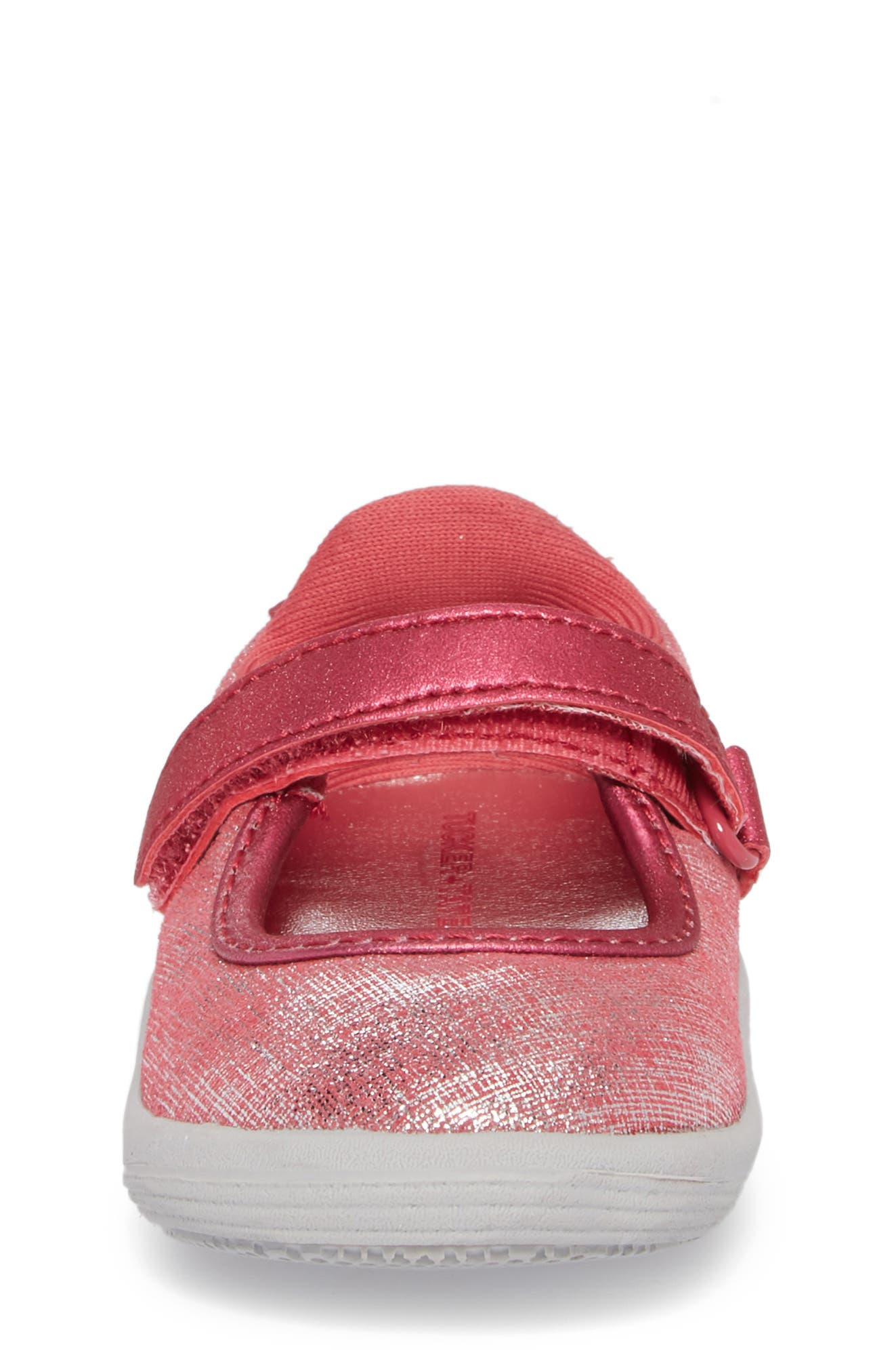 Nora Metallic Mary Jane Sneaker,                             Alternate thumbnail 4, color,                             Pink Shimmer Leather