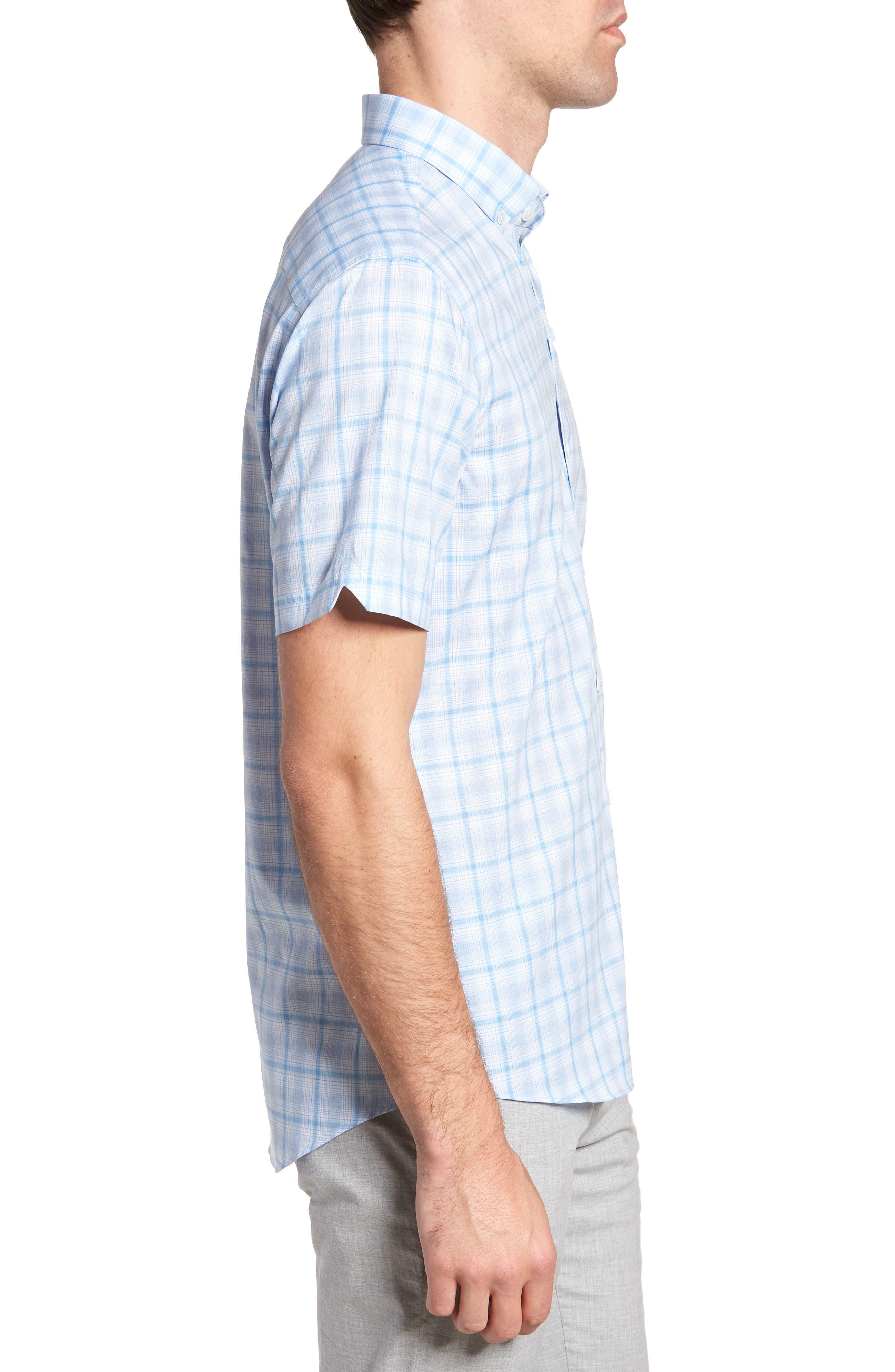 Kin Trim Fit Grid Plaid Sport Shirt,                             Alternate thumbnail 4, color,                             Light Blue