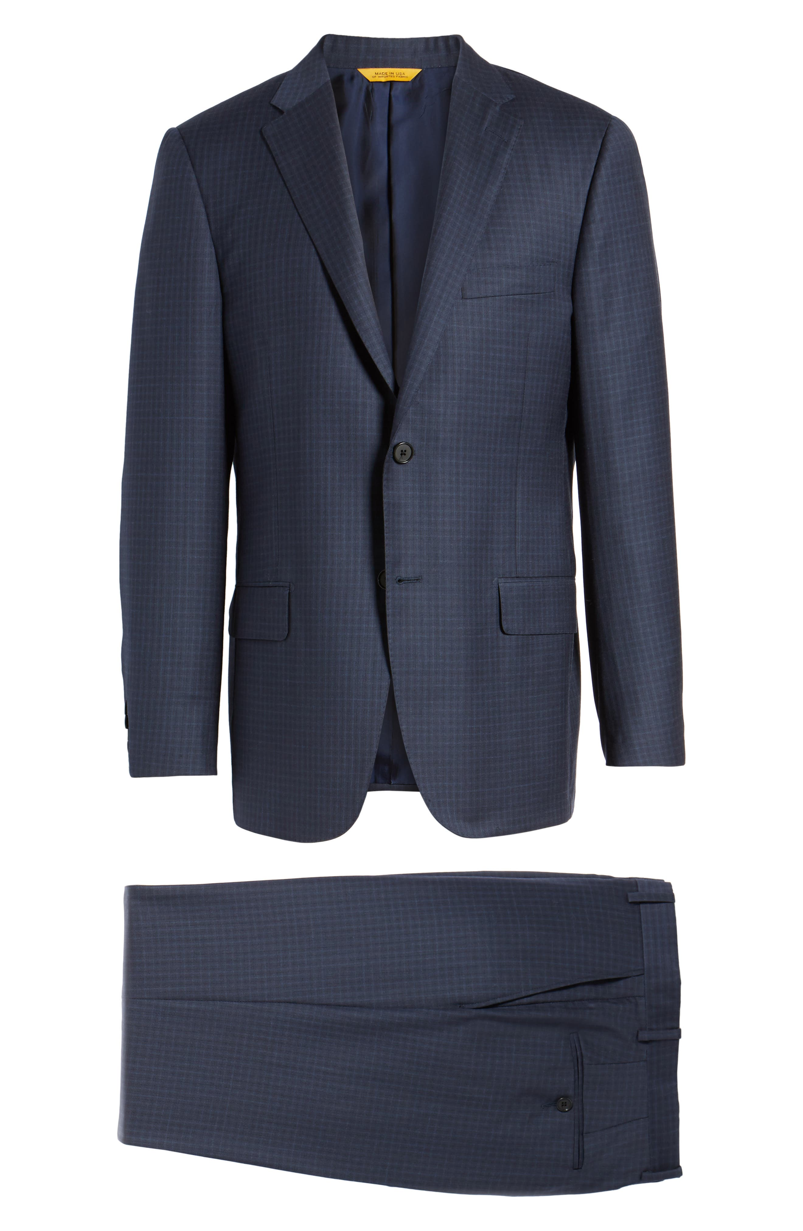 Classic B Fit Check Wool Suit,                             Alternate thumbnail 8, color,                             Navy