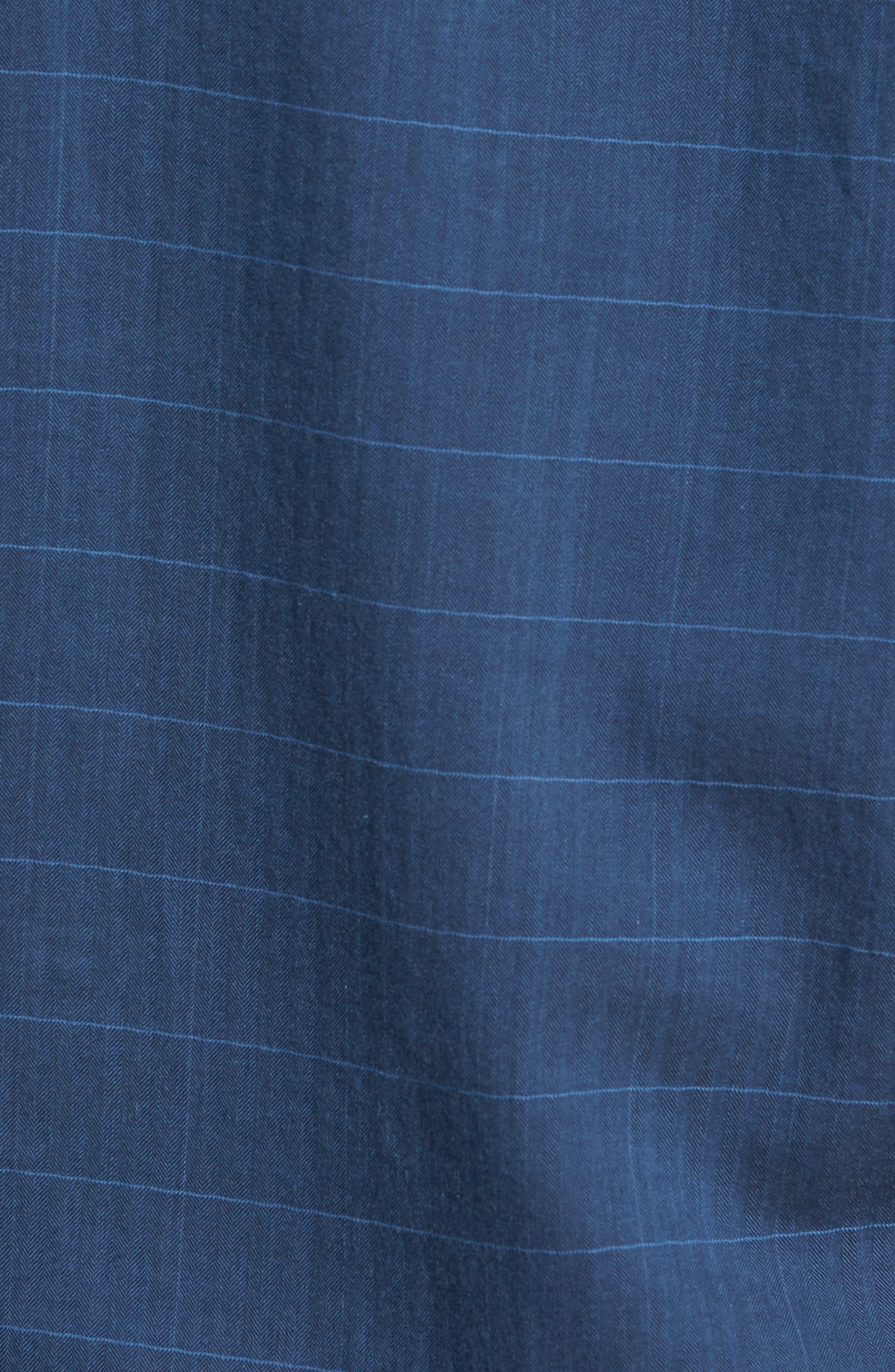 John Standard Fit Windowpane Sport Shirt,                             Alternate thumbnail 5, color,                             Indigo