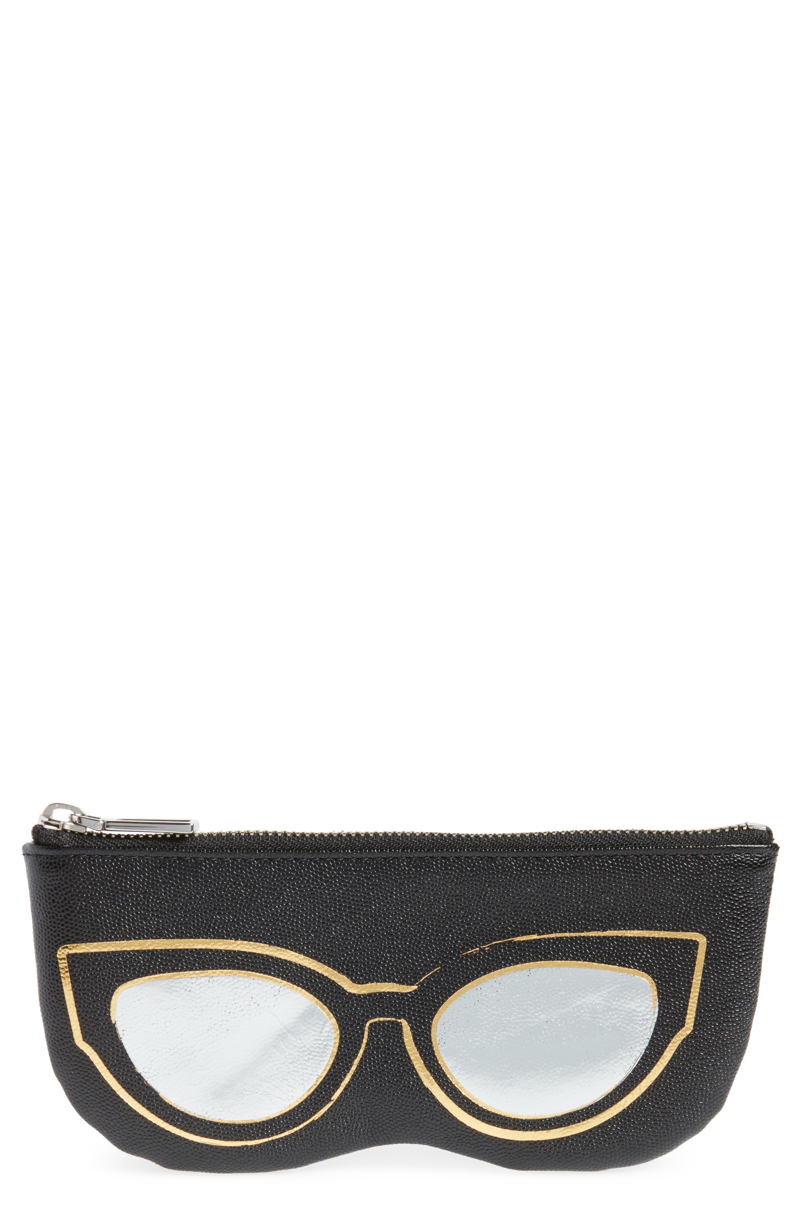 Cat Eye Sunnies Print Leather Pouch,                             Main thumbnail 1, color,                             Black