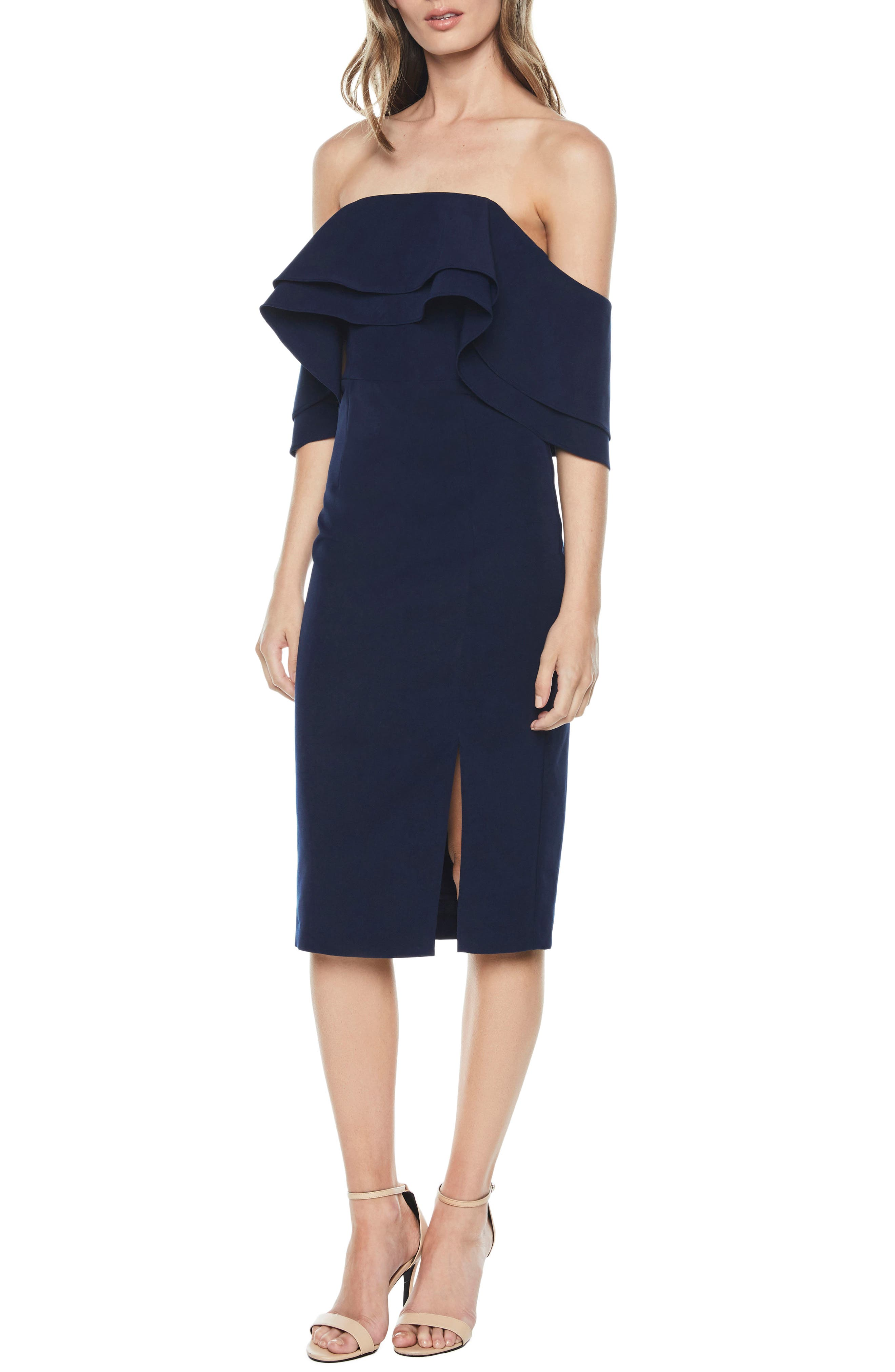 Band Ruffle Off the Shoulder Dress,                         Main,                         color, Navy