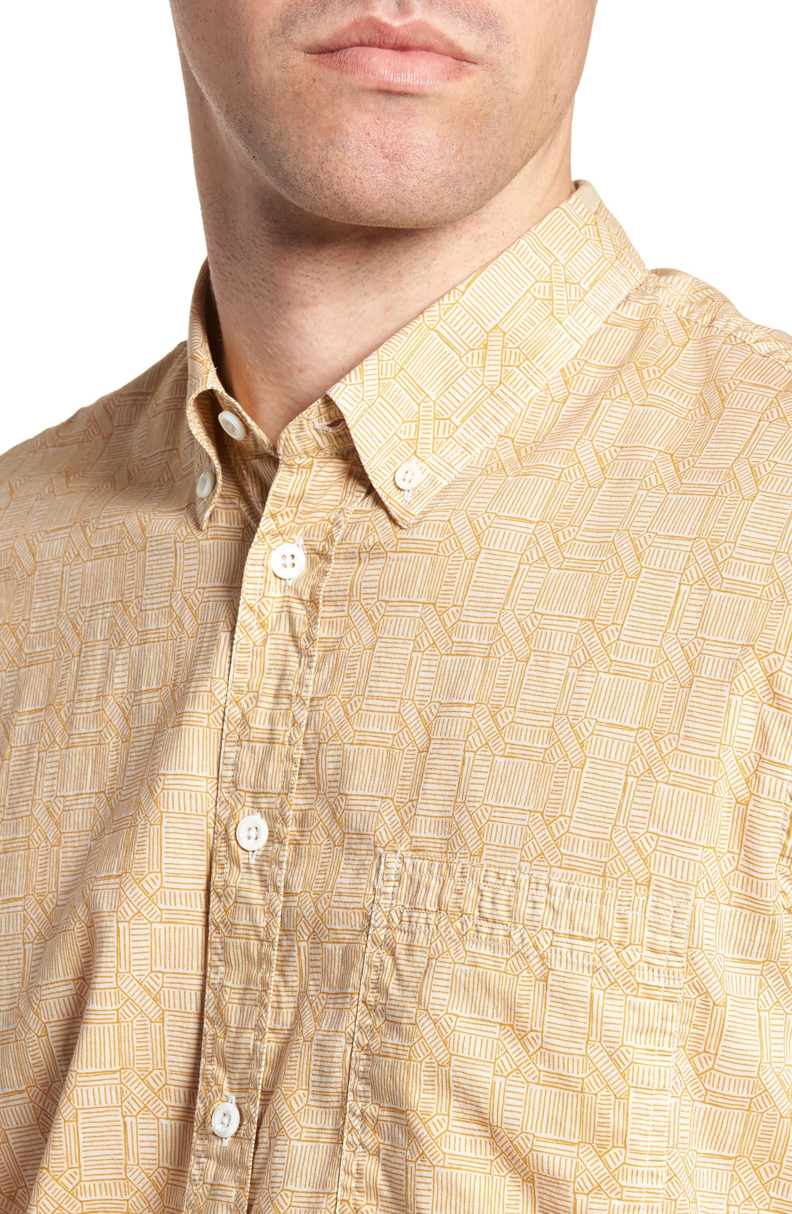 Leo Standard Fit Short Sleeve Sport Shirt,                             Alternate thumbnail 2, color,                             Mustard Docks