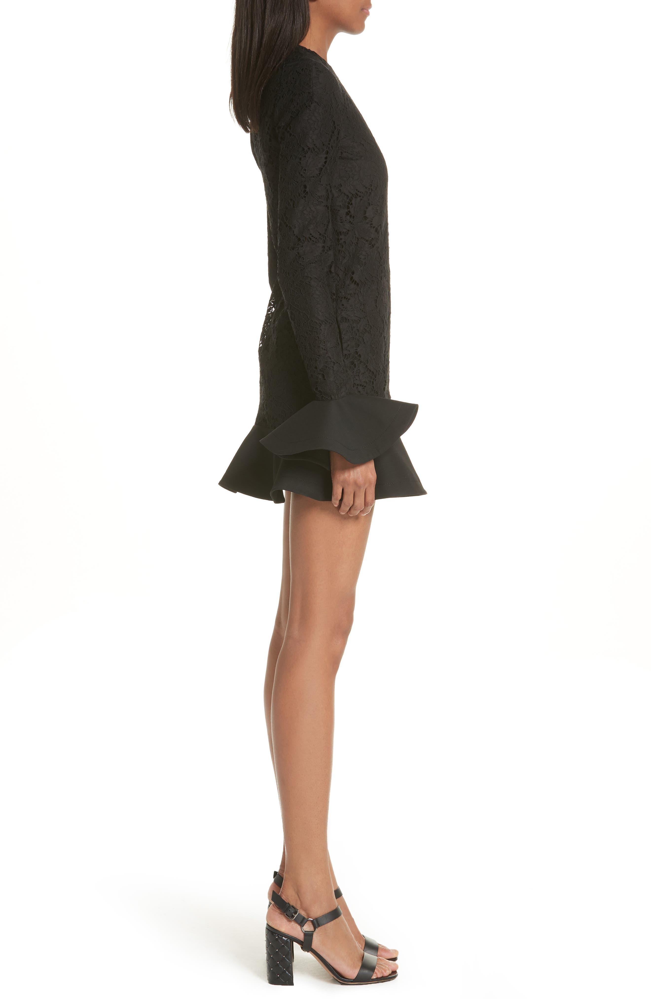 Ruffle Hem Lace Dress,                             Alternate thumbnail 3, color,                             Black