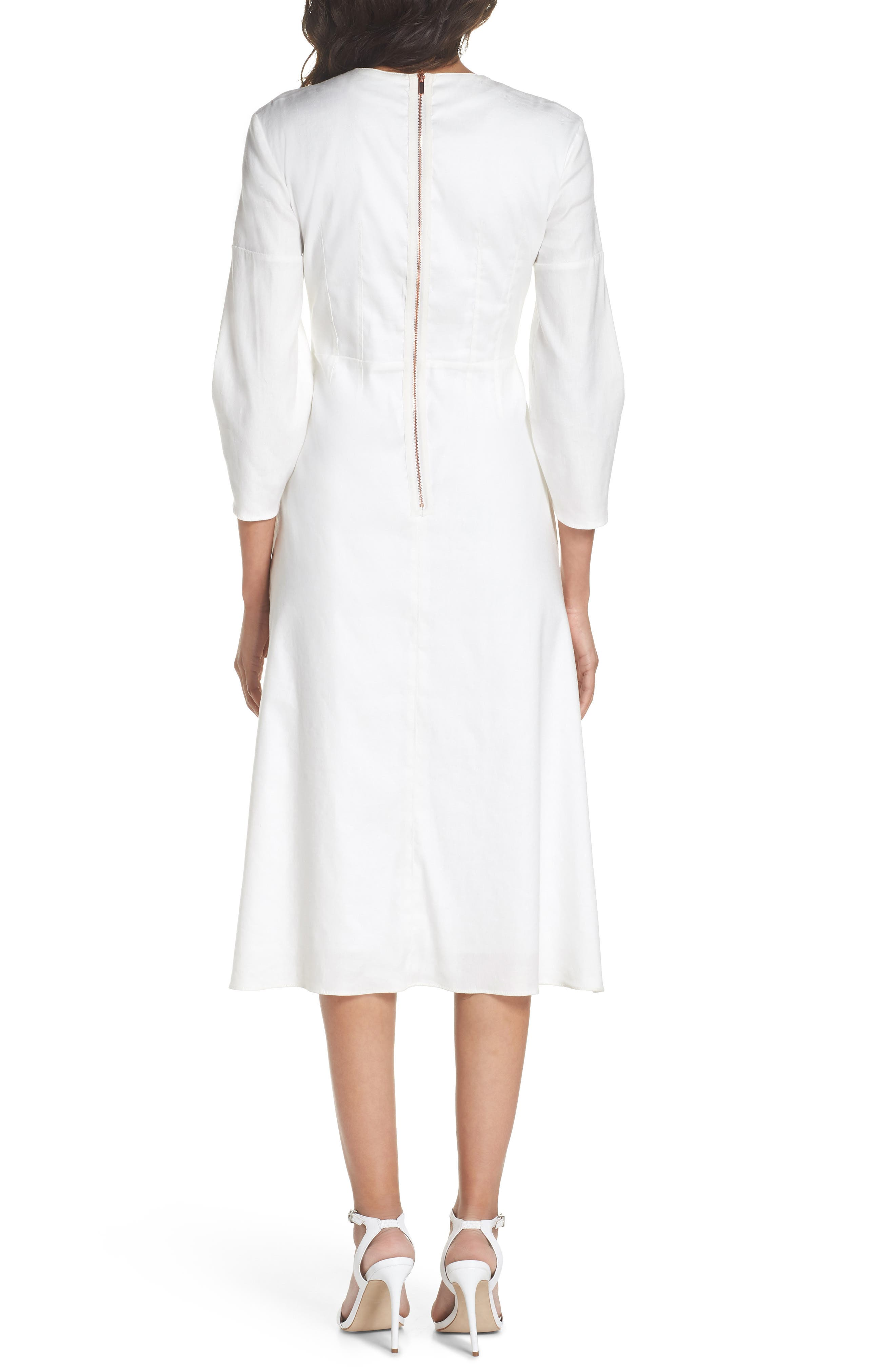 Zip Front Linen Blend Dress,                             Alternate thumbnail 2, color,                             White