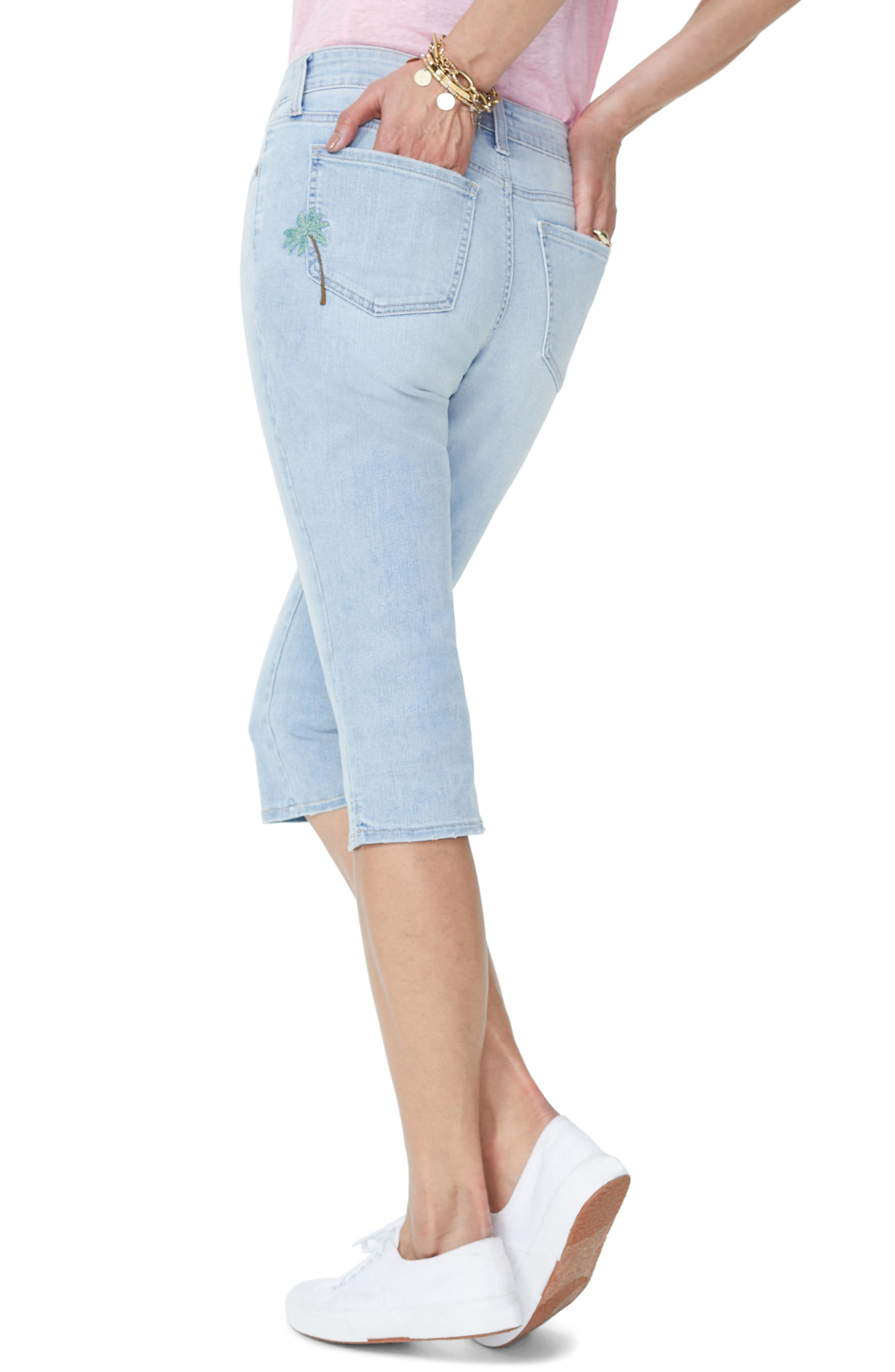 Embroidered Stretch Skinny Capri Jeans,                             Alternate thumbnail 3, color,                             Clean Cloud Nine