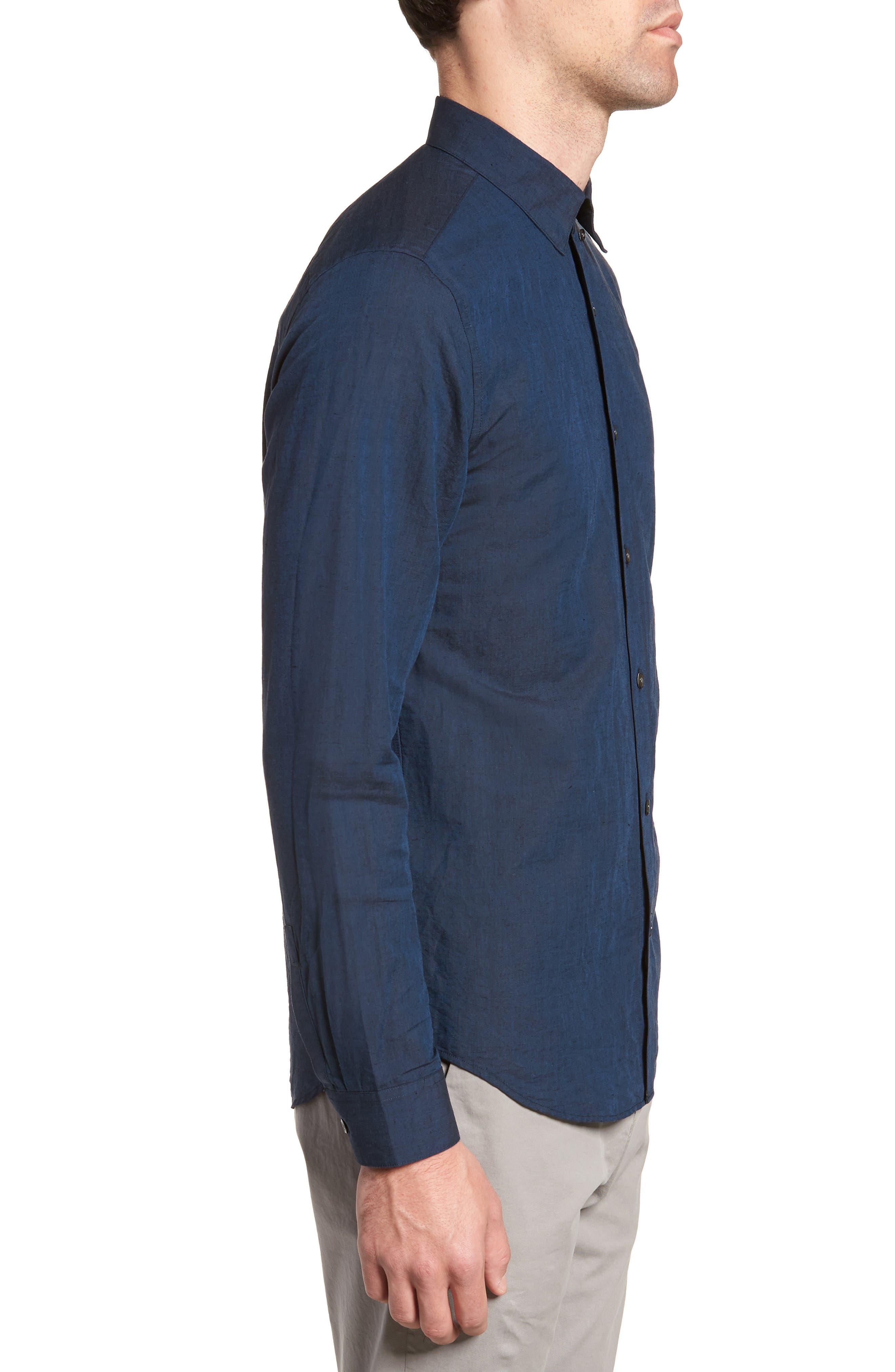 Edward Regular Fit Linen & Cotton Sport Shirt,                             Alternate thumbnail 3, color,                             Finch