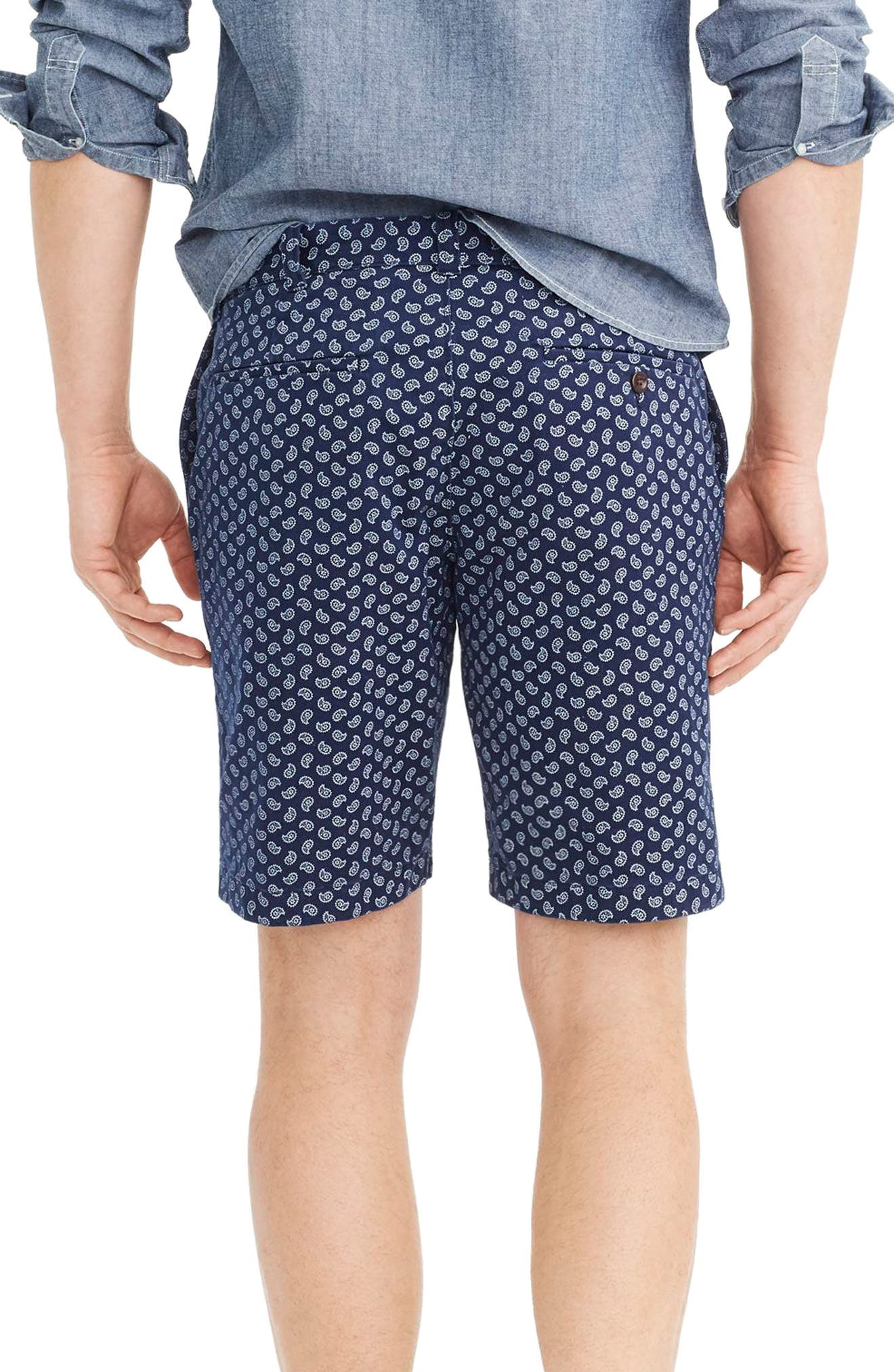 Paisley Stretch Cotton Shorts,                             Alternate thumbnail 2, color,                             Deep Baltic