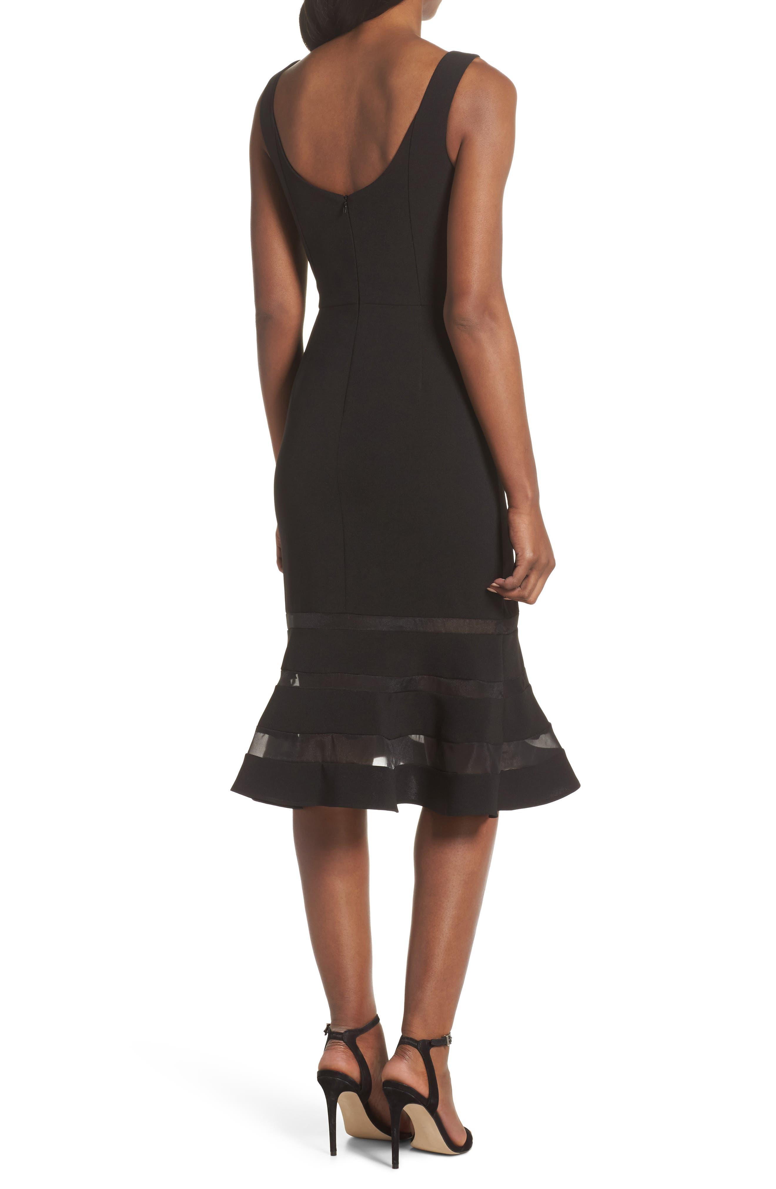 Jeanie Trumpet Midi Dress,                             Alternate thumbnail 2, color,                             Black