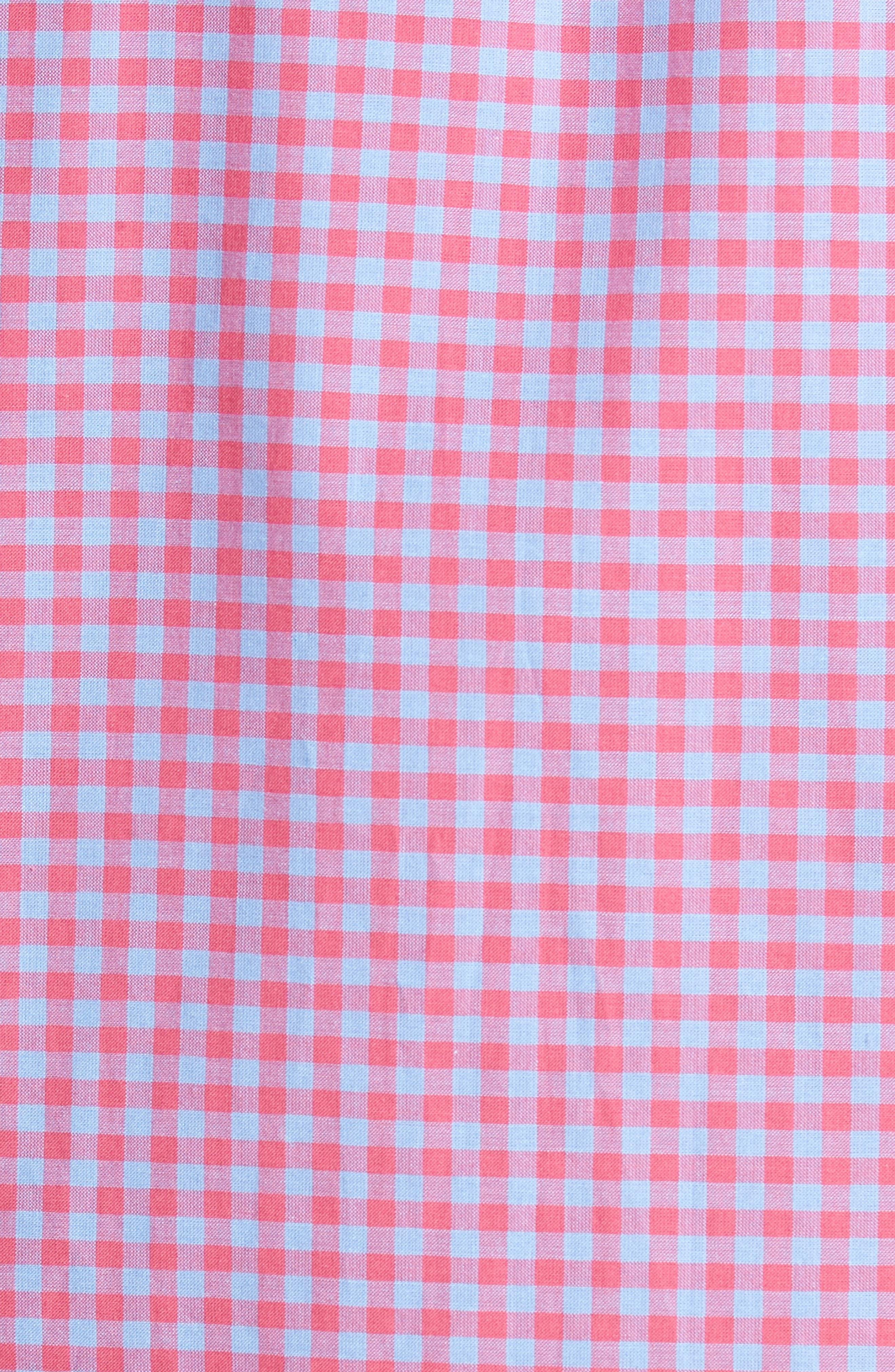 Slim Fit Gingham Sport Shirt,                             Alternate thumbnail 5, color,                             Light Red