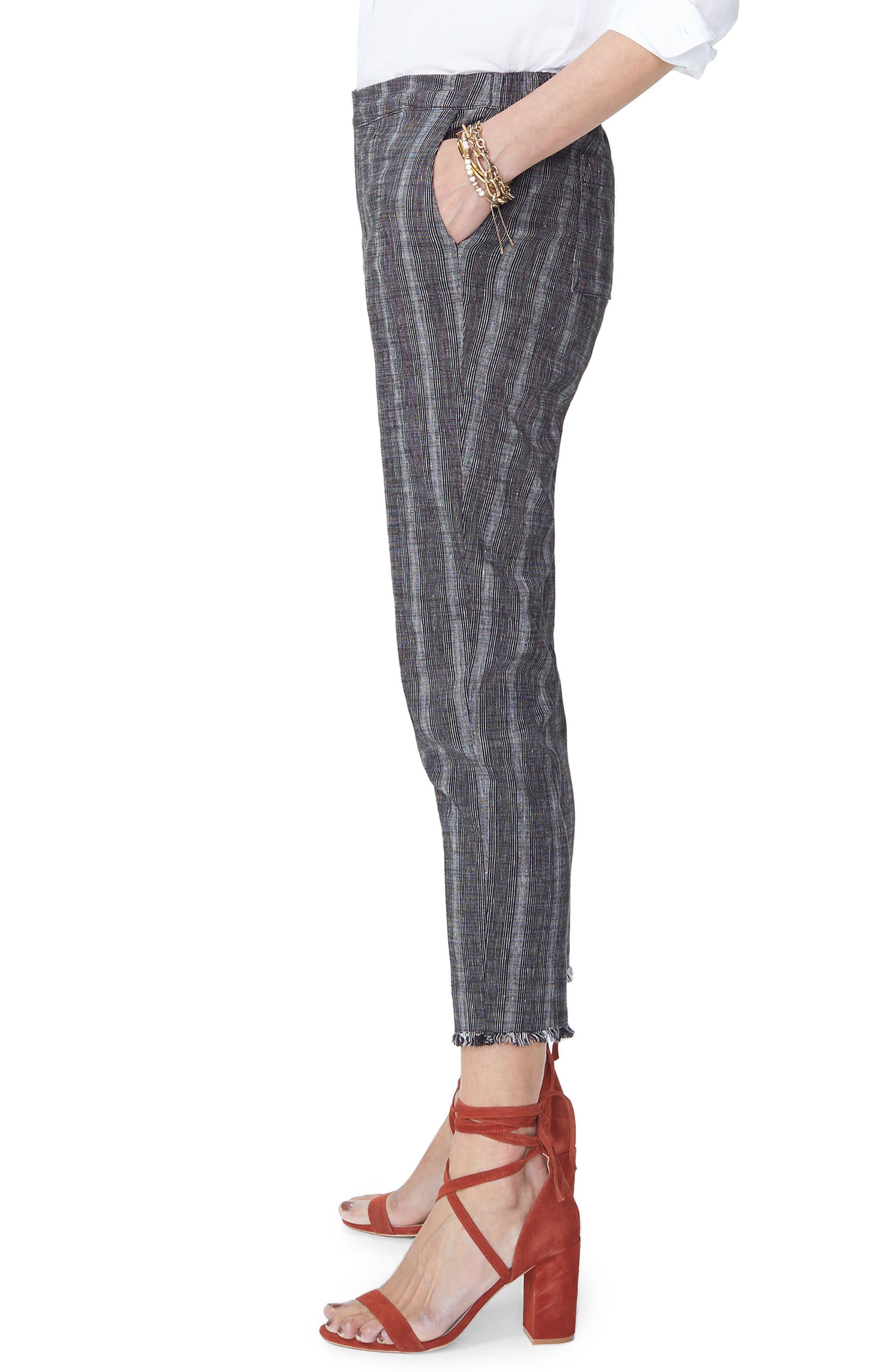 Hidden Drawstring Stripe Crop Pants,                             Alternate thumbnail 3, color,                             Black/ Natural