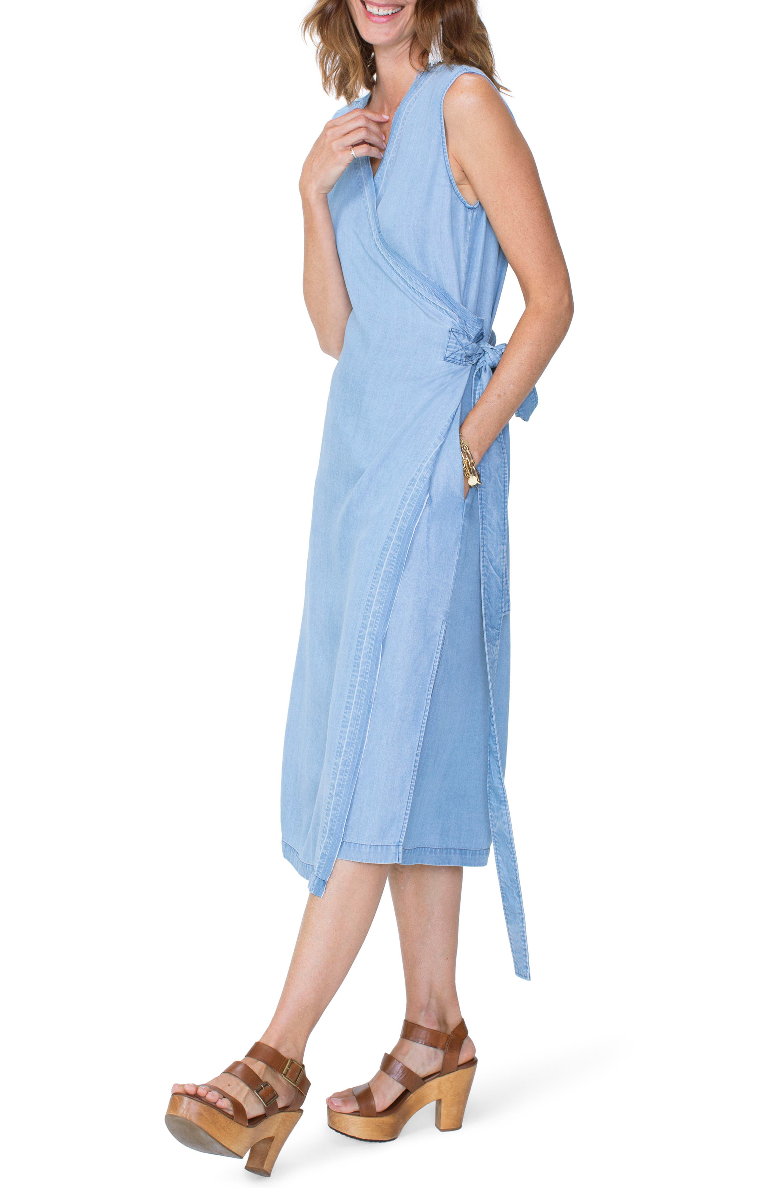 Chambray Release Detail Wrap Dress,                             Alternate thumbnail 3, color,                             Sea Mist Wash