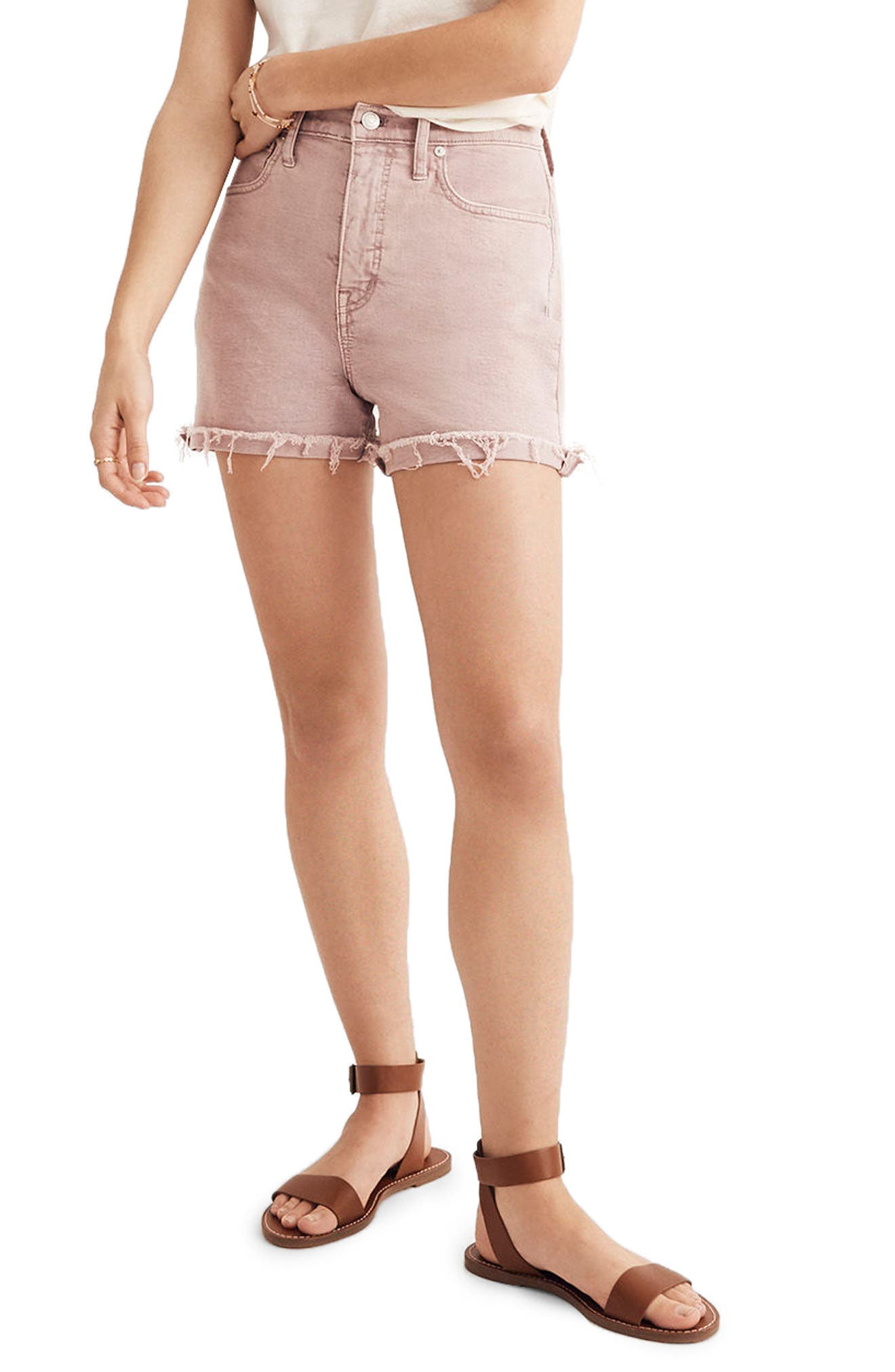 Garment Dyed High Waist Denim Shorts,                             Main thumbnail 1, color,                             Vintage Mauve