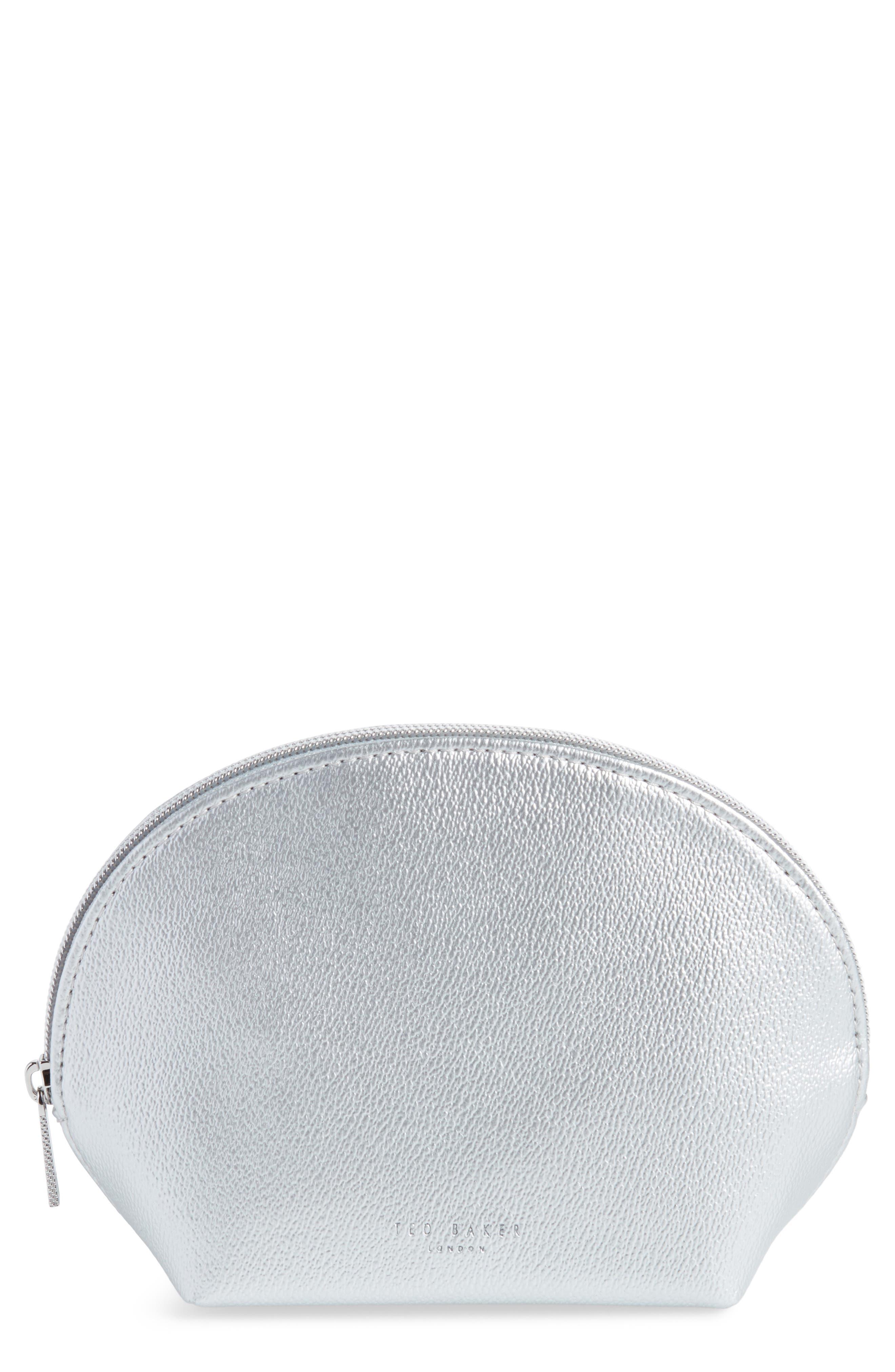 Faux Leather Zip Pouch - Metallic, Silver