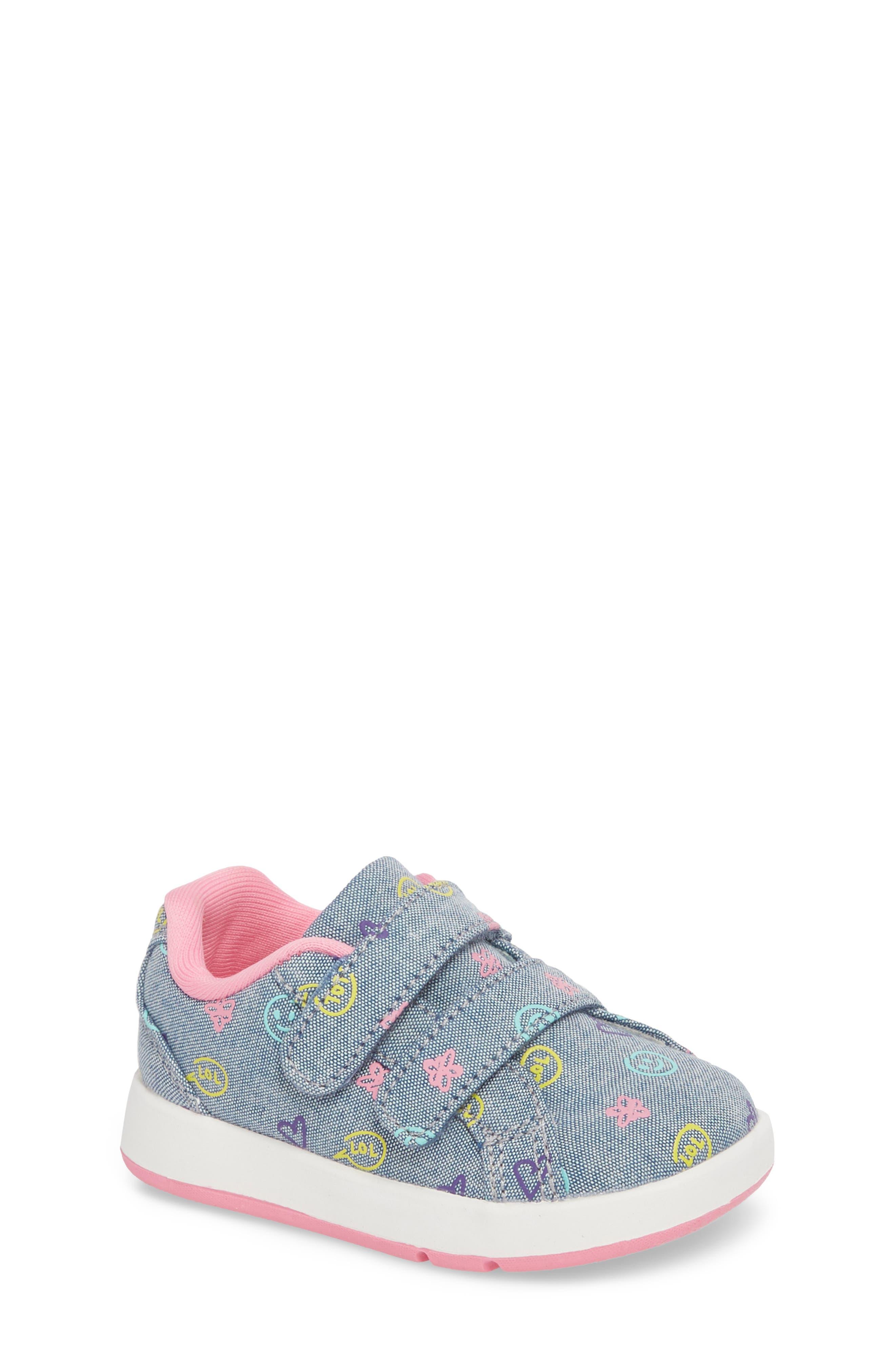 Kate Print Sneaker,                         Main,                         color, Blue Denim Printed Fabric