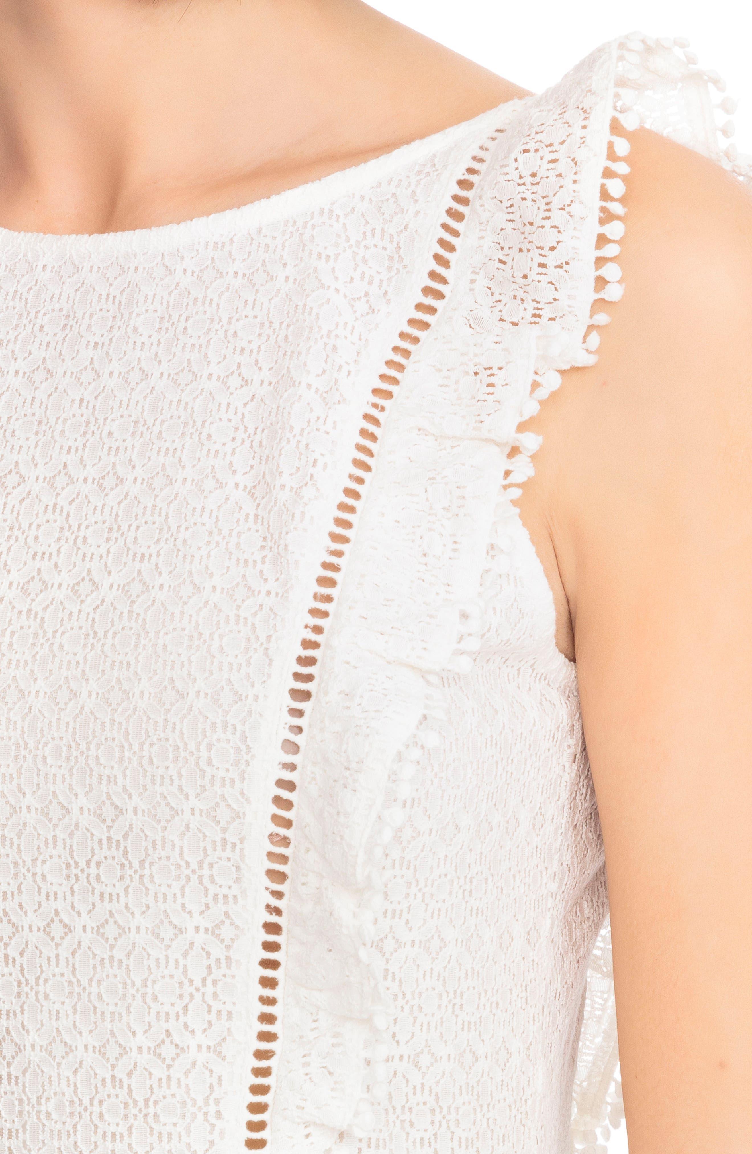 Calie Lace A-Line Dress,                             Alternate thumbnail 4, color,                             Off White