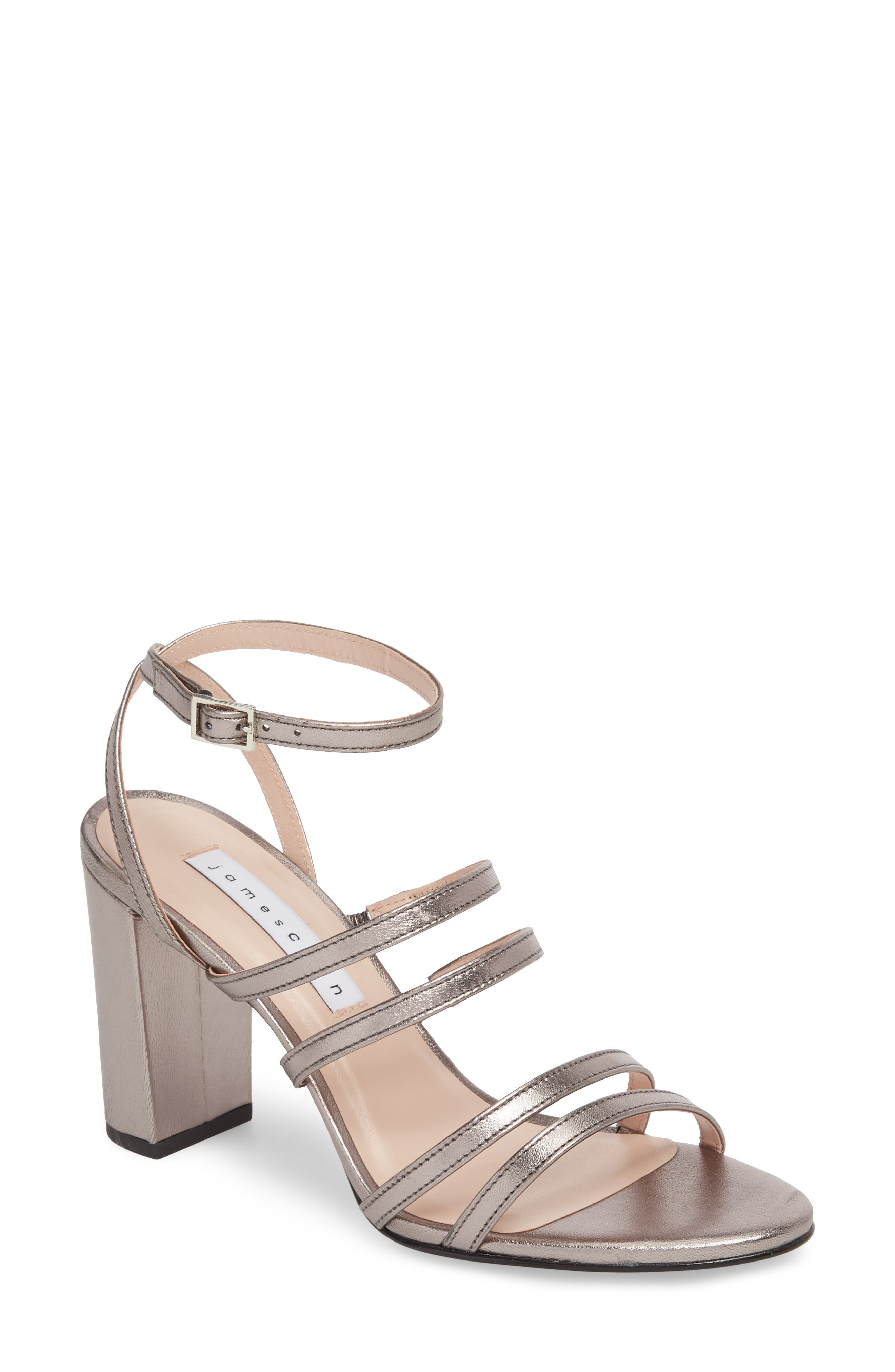 Adina Sandal,                         Main,                         color, Silver Leather