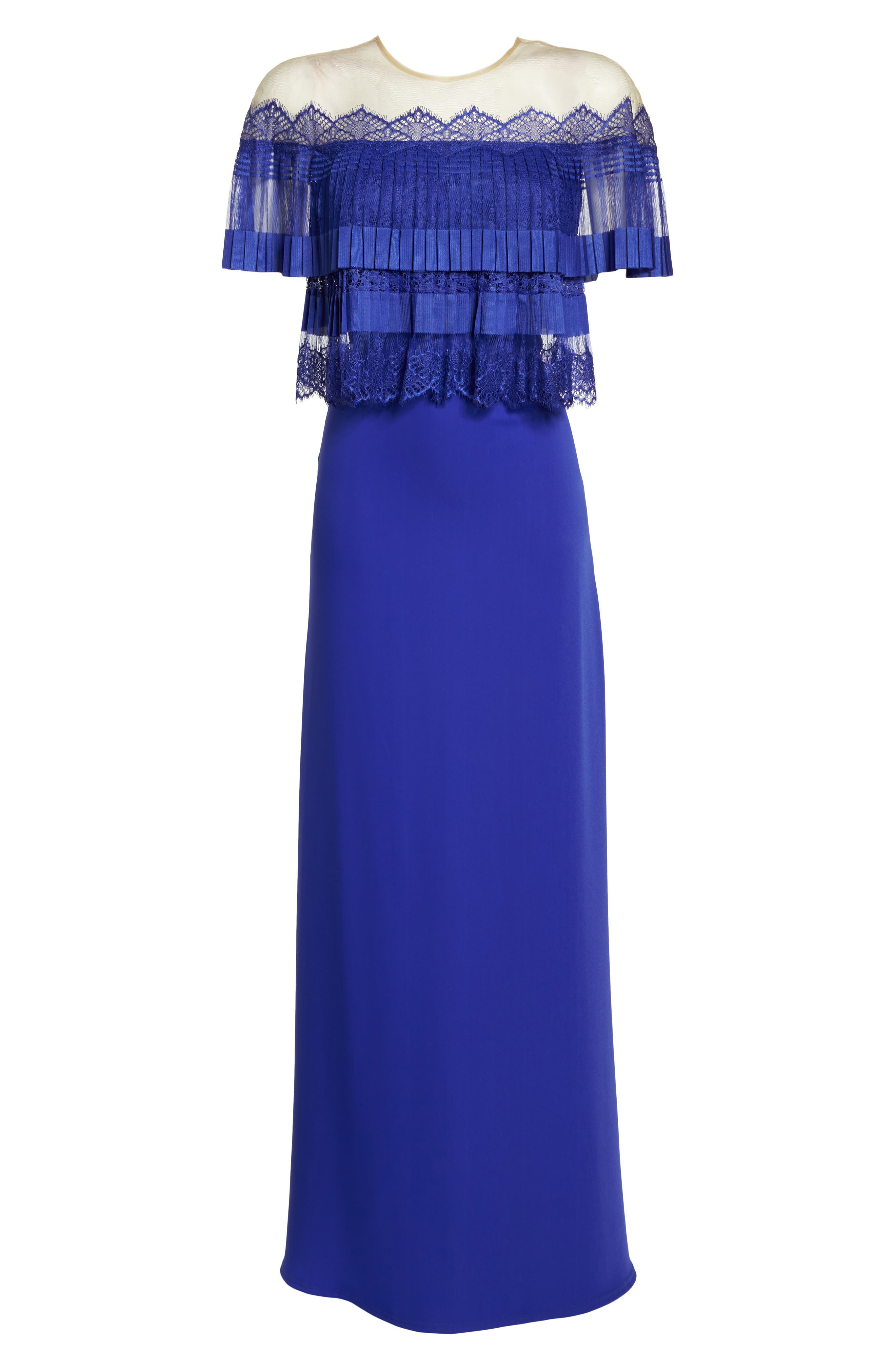 Off-the-Shoulder Lace & Crepe Gown,                             Alternate thumbnail 6, color,                             Royal Iris