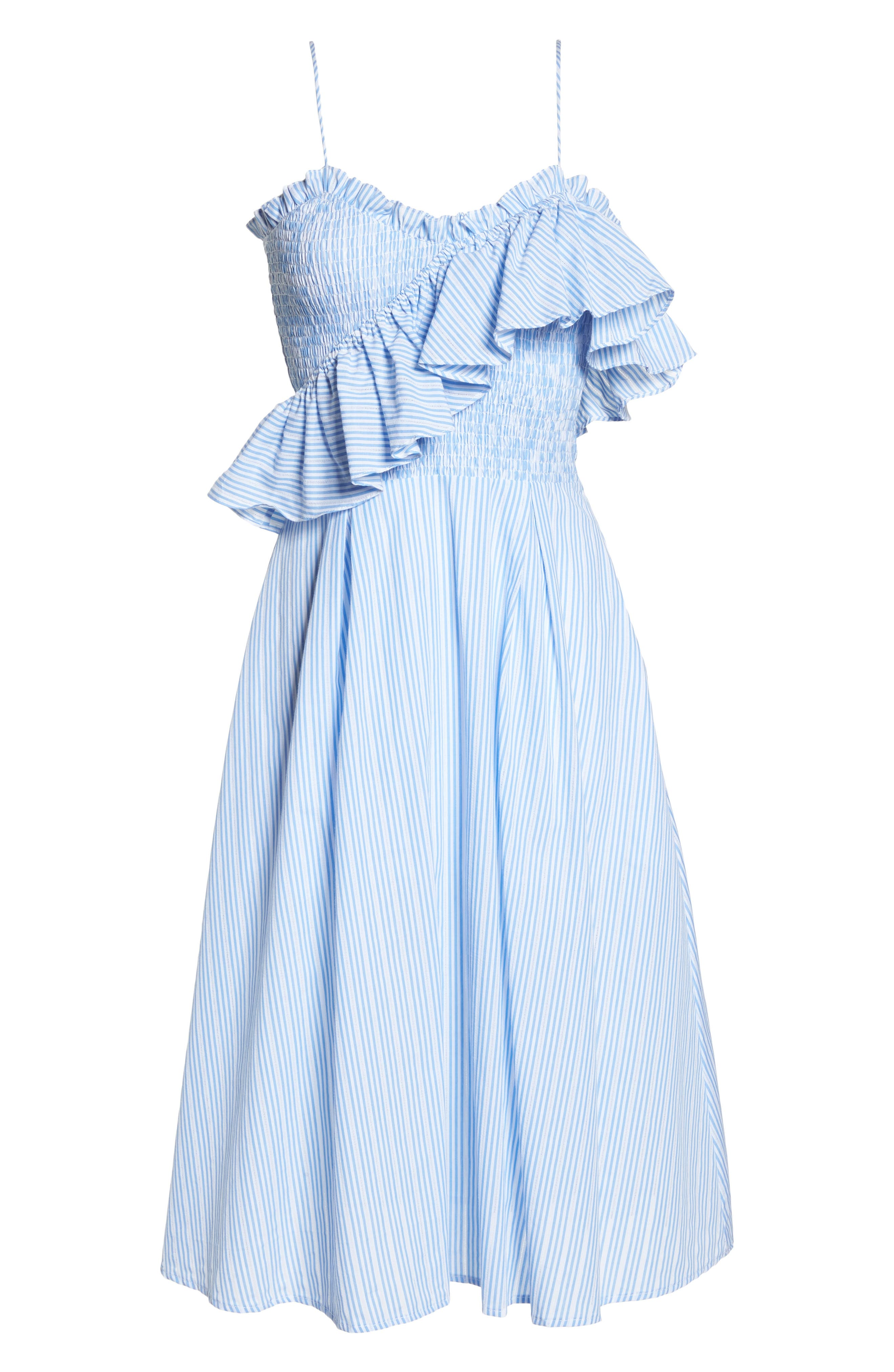Stripe Poplin Fit & Flare Dress,                             Alternate thumbnail 7, color,                             Light Blue