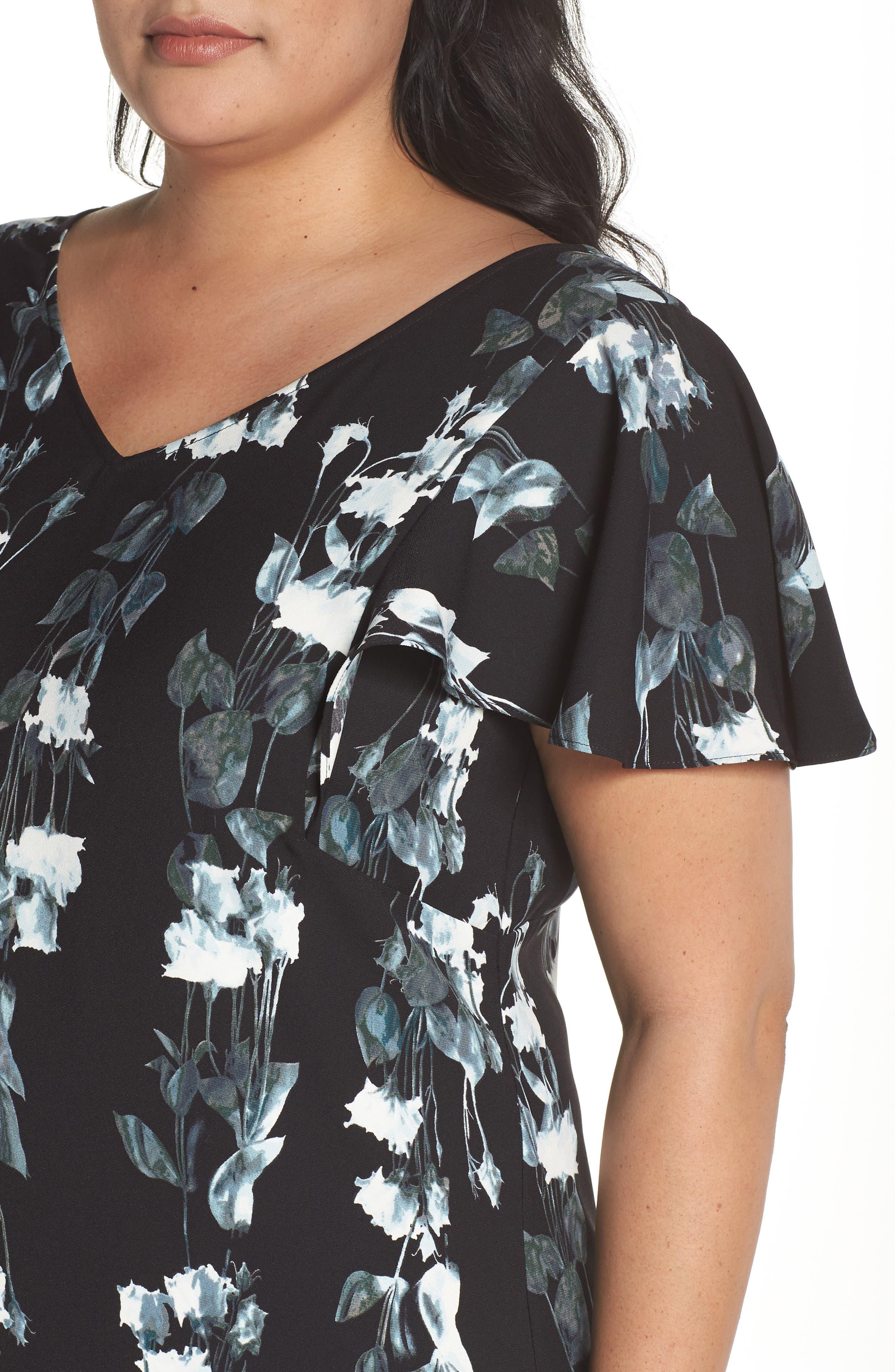 Flutter Sleeve Shift Dress,                             Alternate thumbnail 4, color,                             Black- Blue Vertical Florals