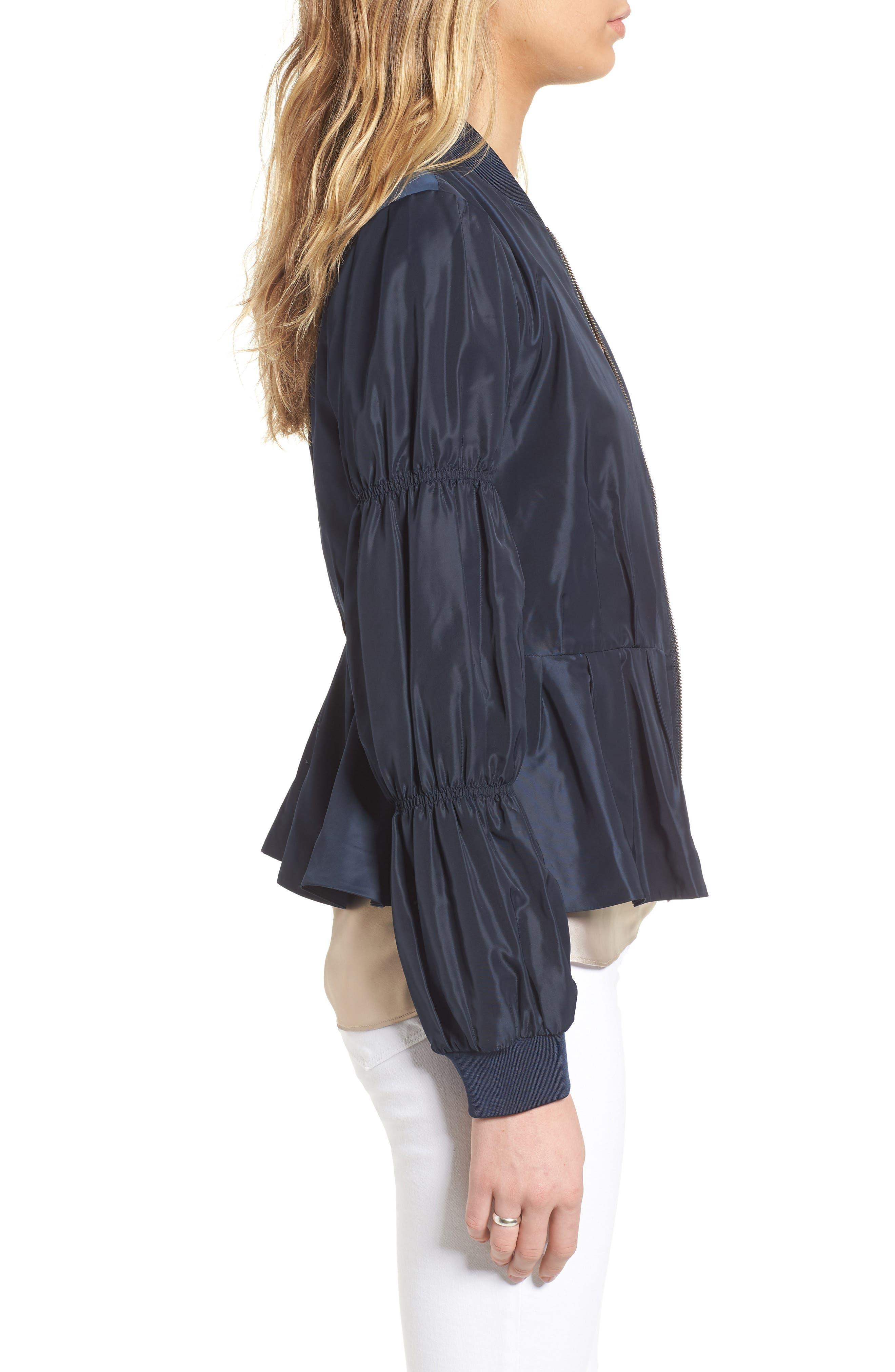 Puff Sleeve Taffeta Crop Jacket,                             Alternate thumbnail 3, color,                             Navy Eclipse