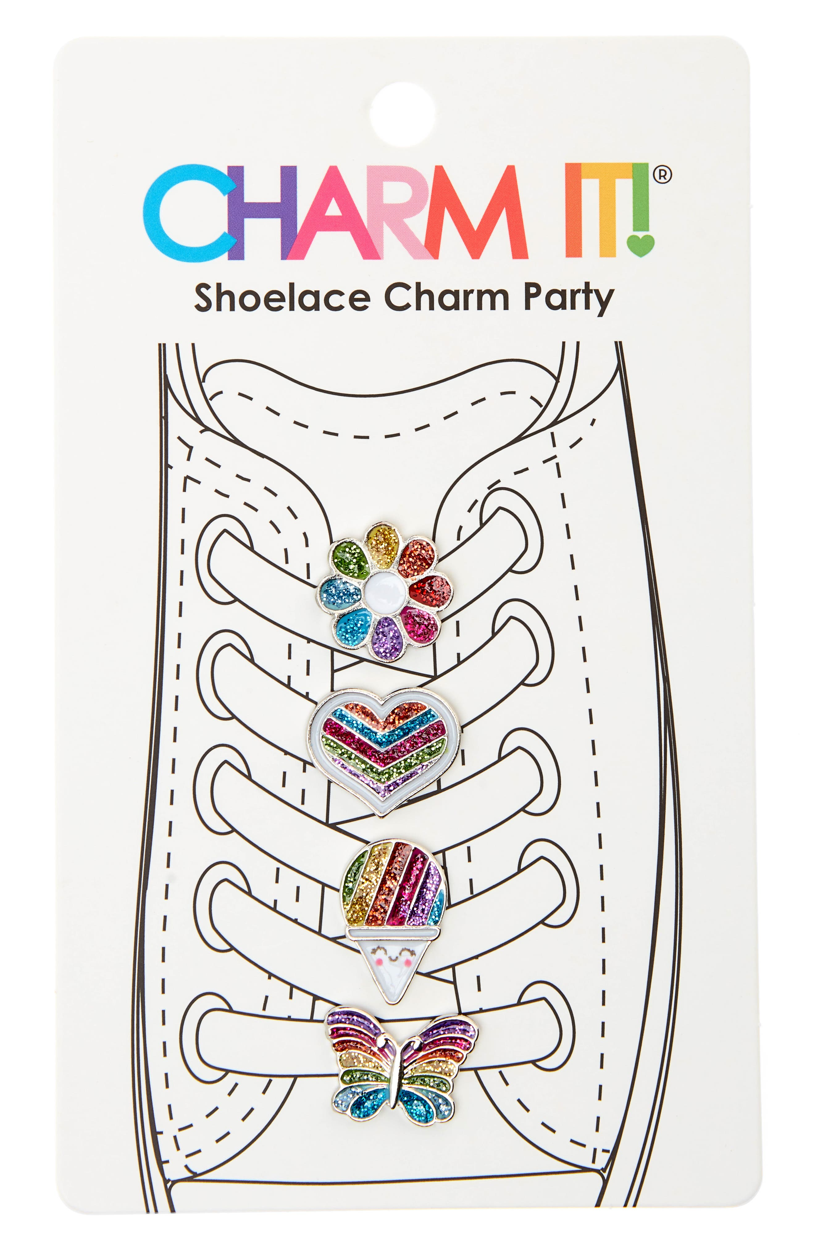 CHARM IT!® 4-Pack Rainbow Glitter Shoelace Charms (Kids)