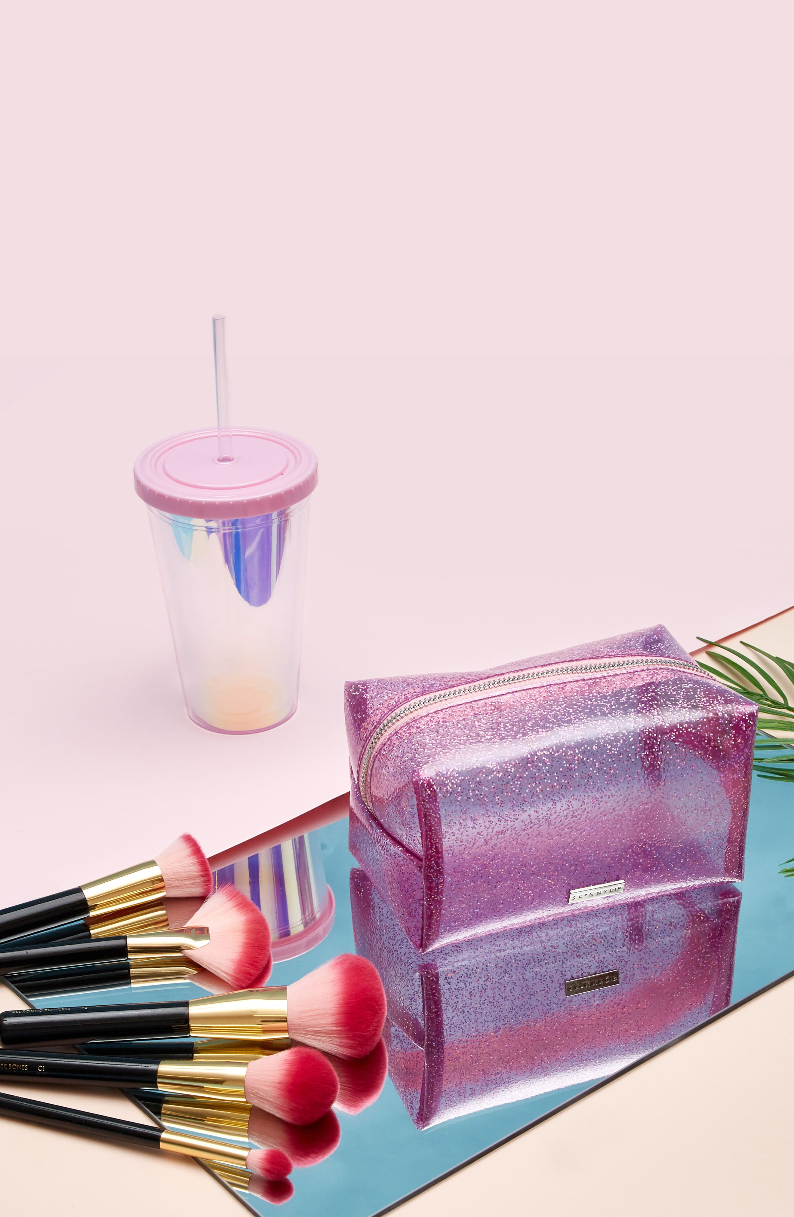 Skinny Dip Glitter Bomb Makeup Bag,                             Alternate thumbnail 4, color,                             No Color
