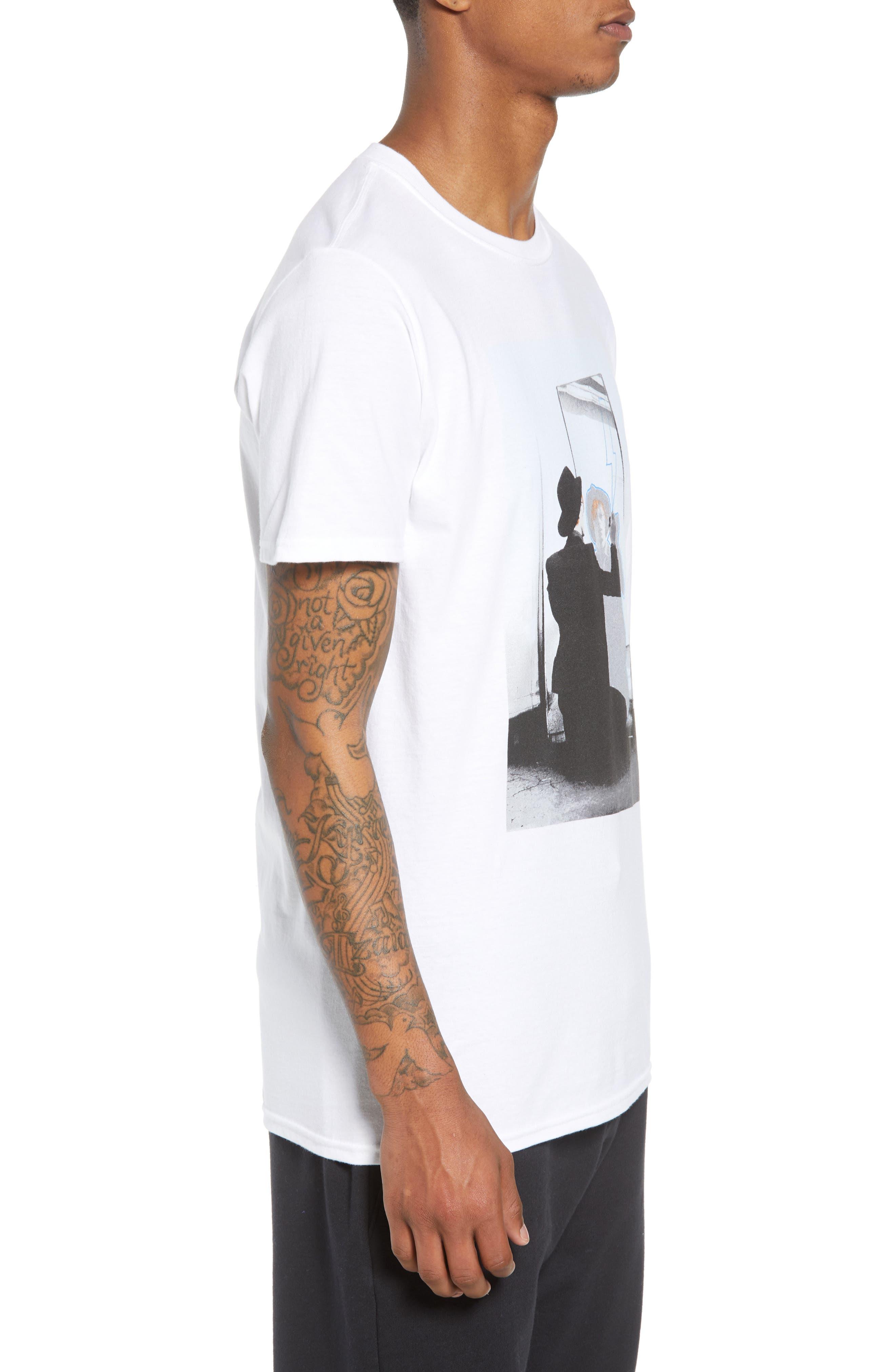 David Bowie Mirror T-Shirt,                             Alternate thumbnail 3, color,                             White Bowie Mirror