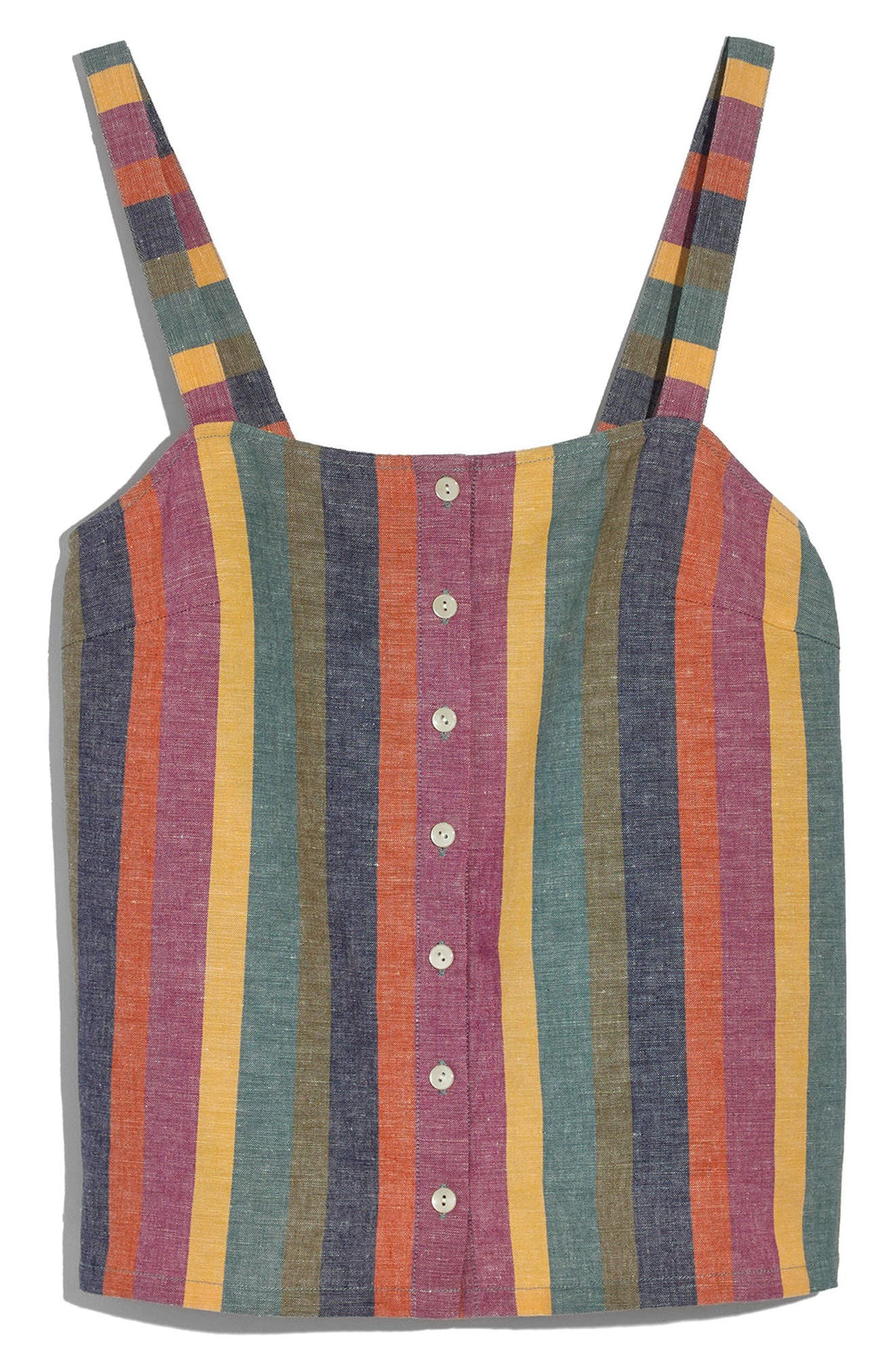 Rainbow Stripe Button Front Tank,                             Alternate thumbnail 2, color,                             Meadow Green