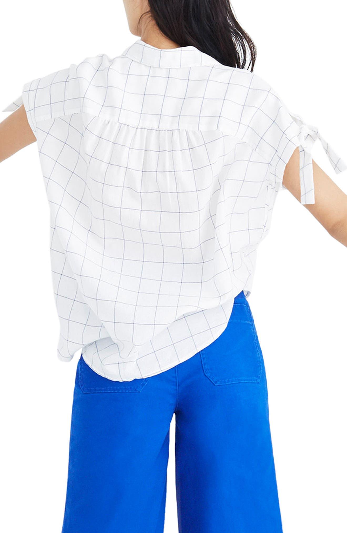 Central Windowpane Tie Sleeve Shirt,                             Alternate thumbnail 2, color,                             Alpha Blue