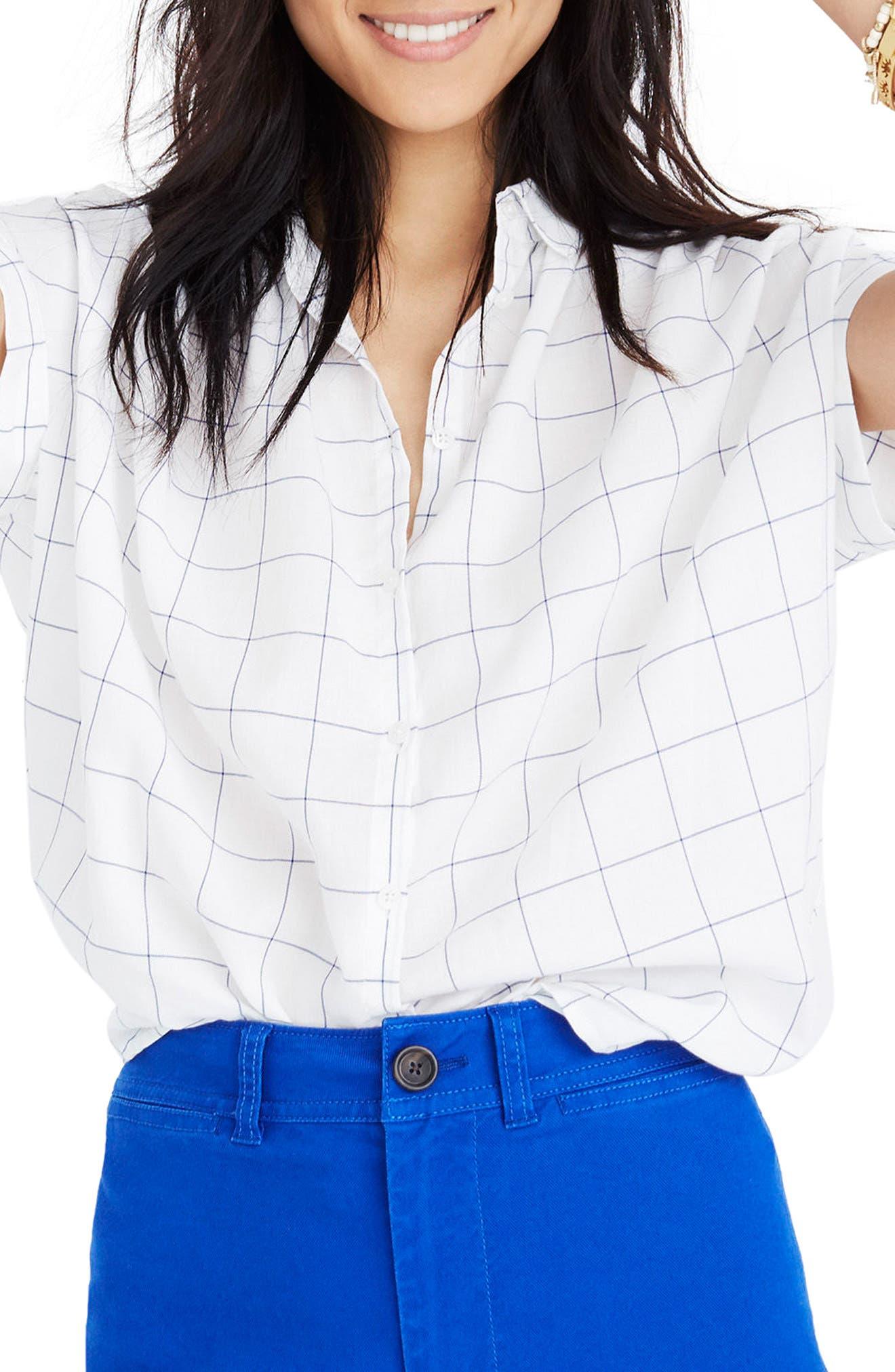 Central Windowpane Tie Sleeve Shirt,                         Main,                         color, Alpha Blue