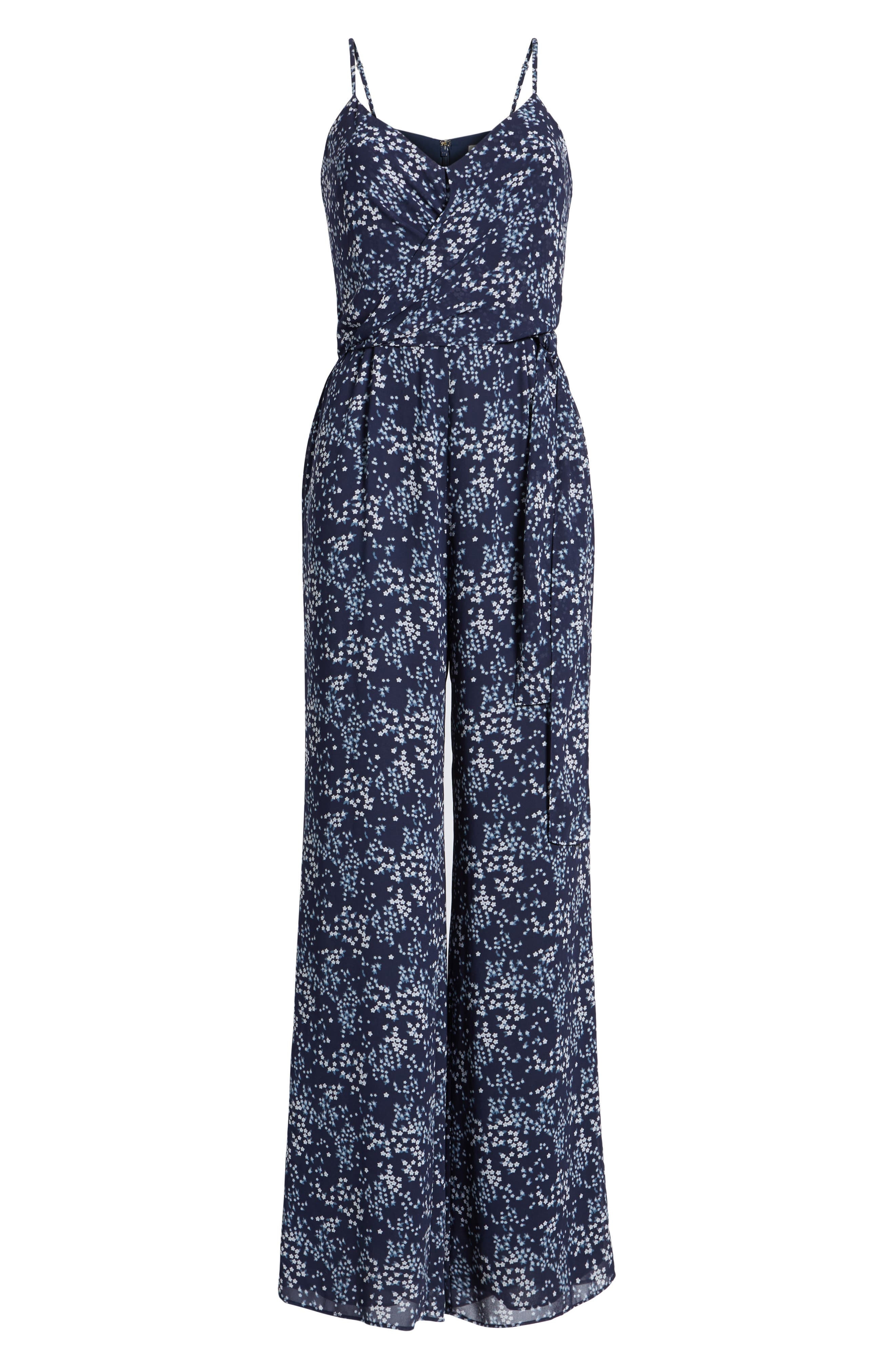 Scattered Blooms Jumpsuit,                             Alternate thumbnail 6, color,                             True Navy/ Light Chambray