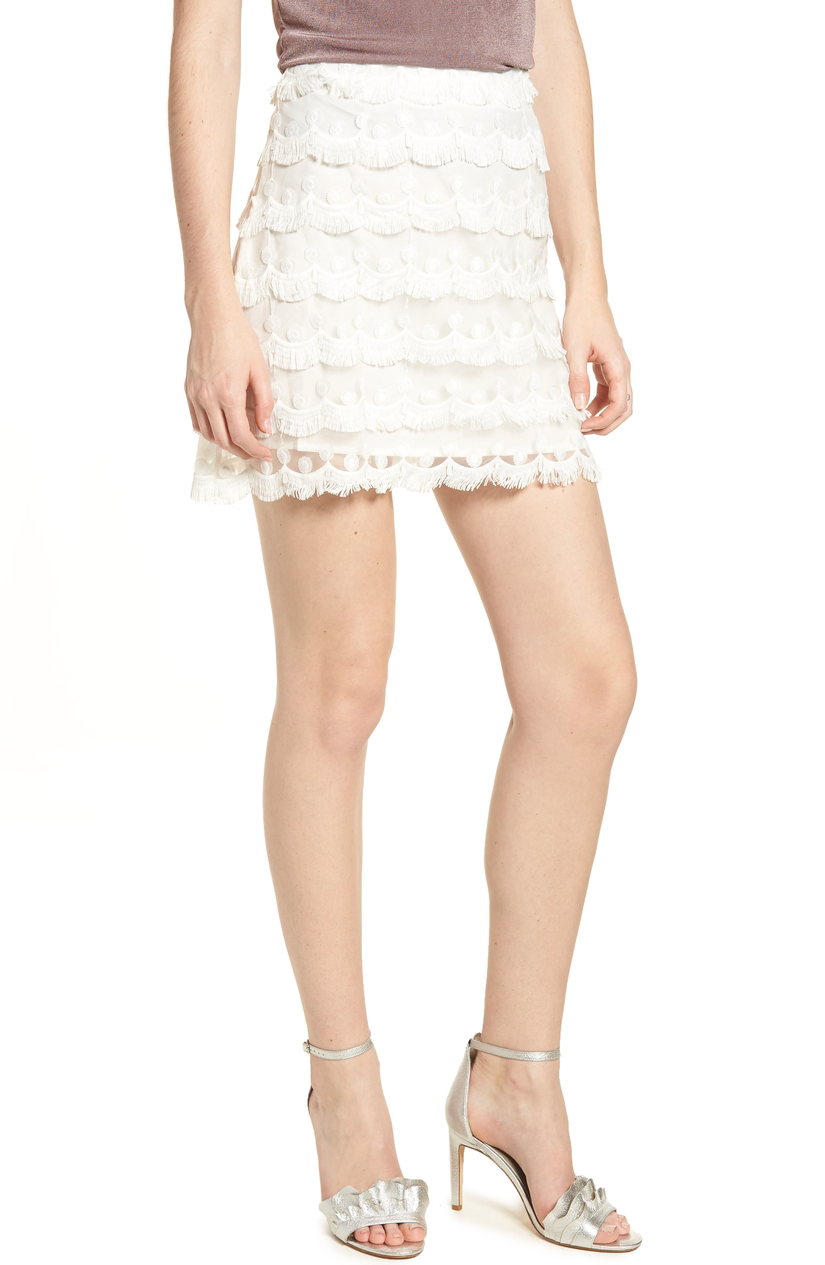 3D Lace Fringed Miniskirt,                         Main,                         color, White